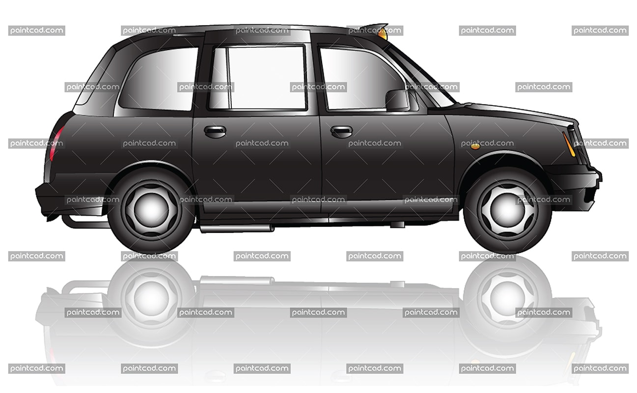 Vector illustration with side view of London black cab taxi - vector illustration