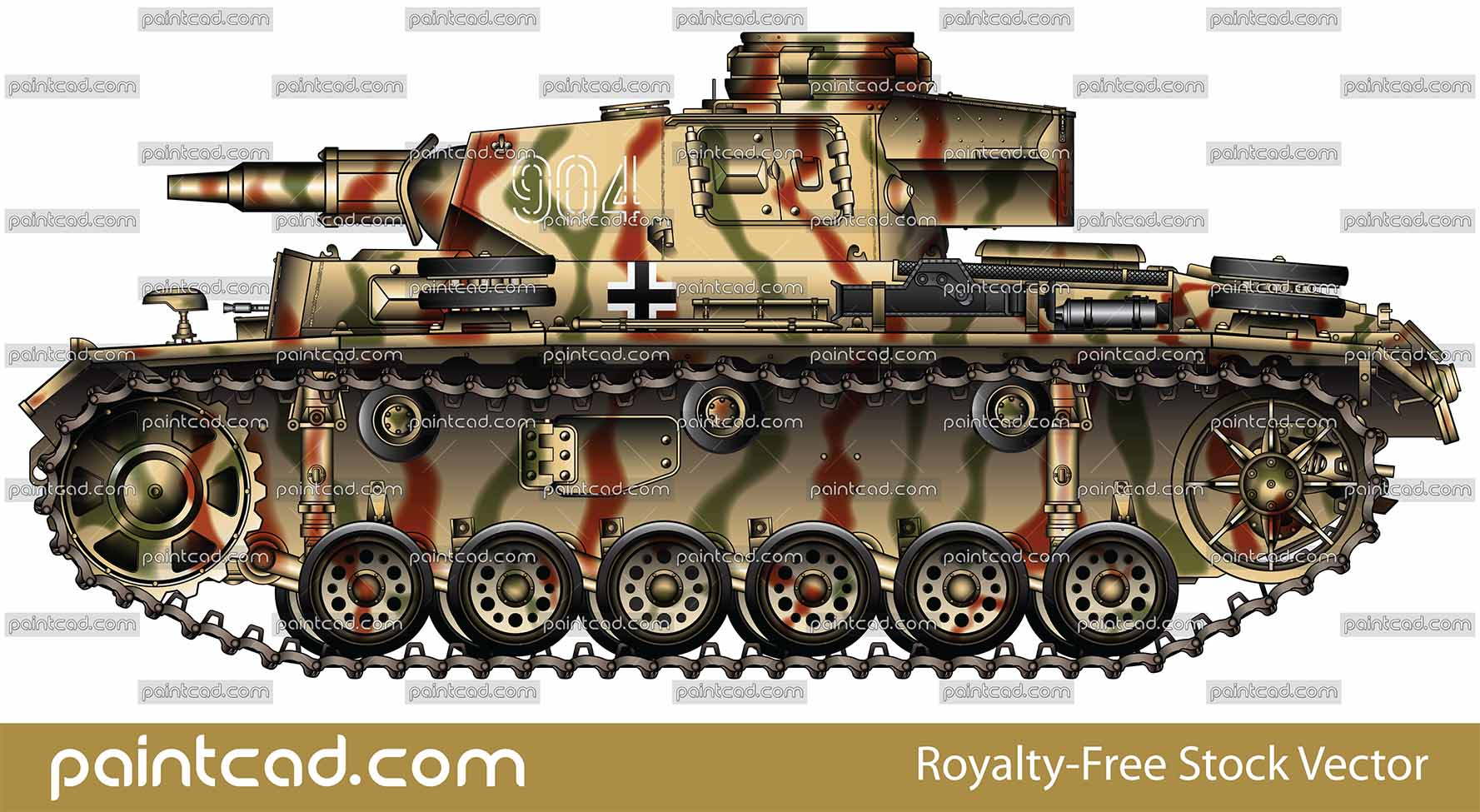 Panzer III Ausf N in camouflage from The Battle of Kursk - vector illustration