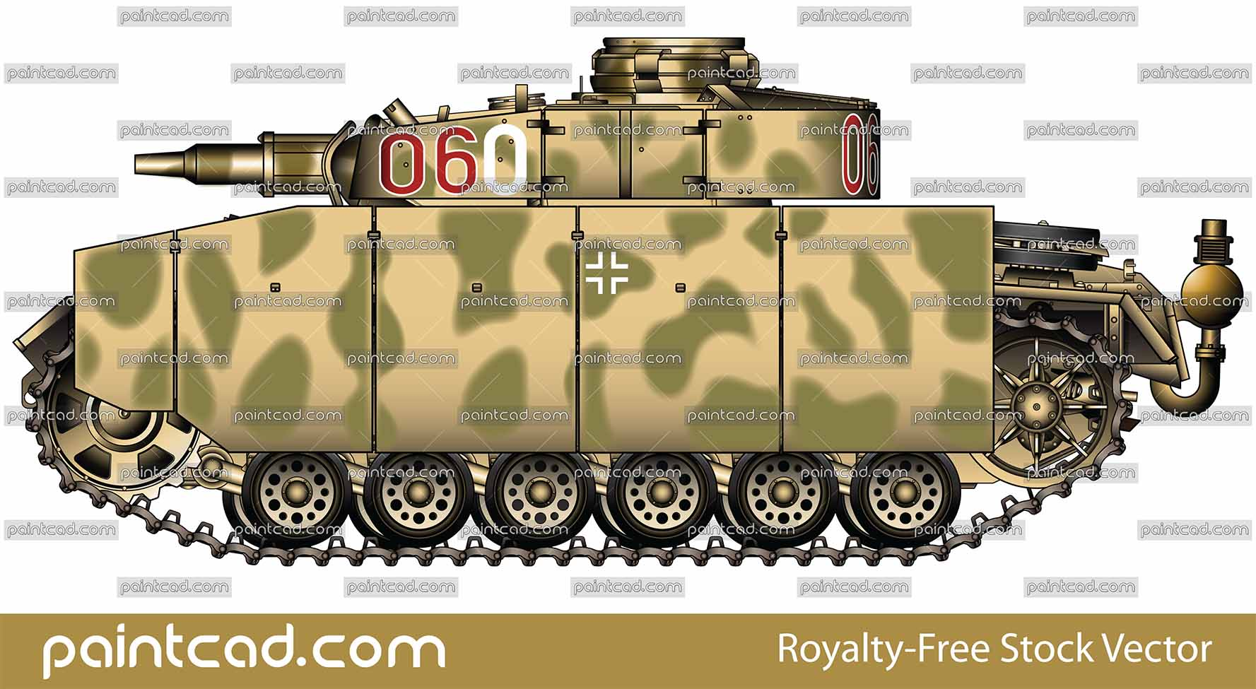German tank Panzer III Ausf M with side armour skirts - vector illustration