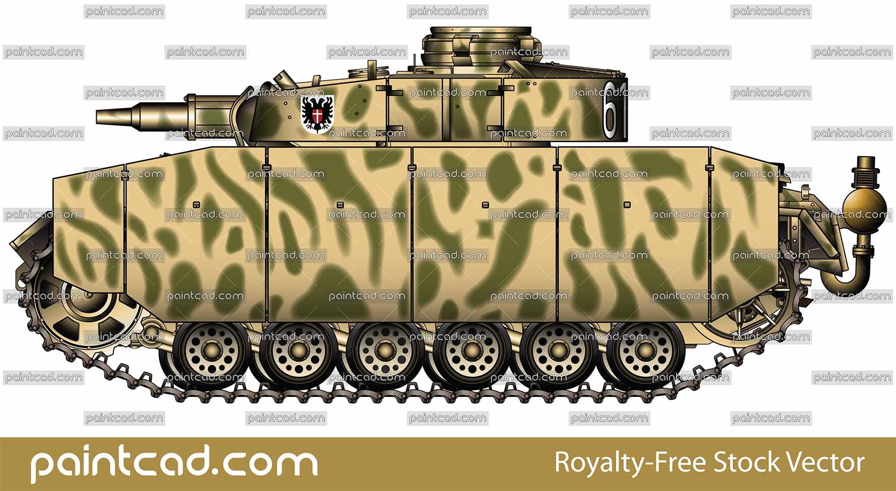 Panzer III Ausf N used by Nazi in the Battle of Kursk 1943 - vector illustration