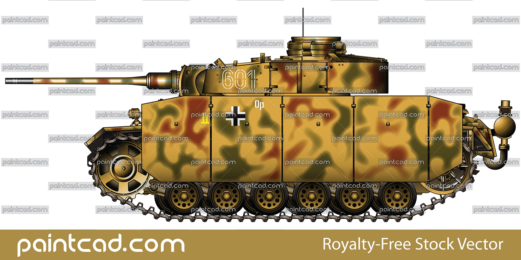 German medium tank Panzer III Ausf. M fitted with schurzen - vector illustration