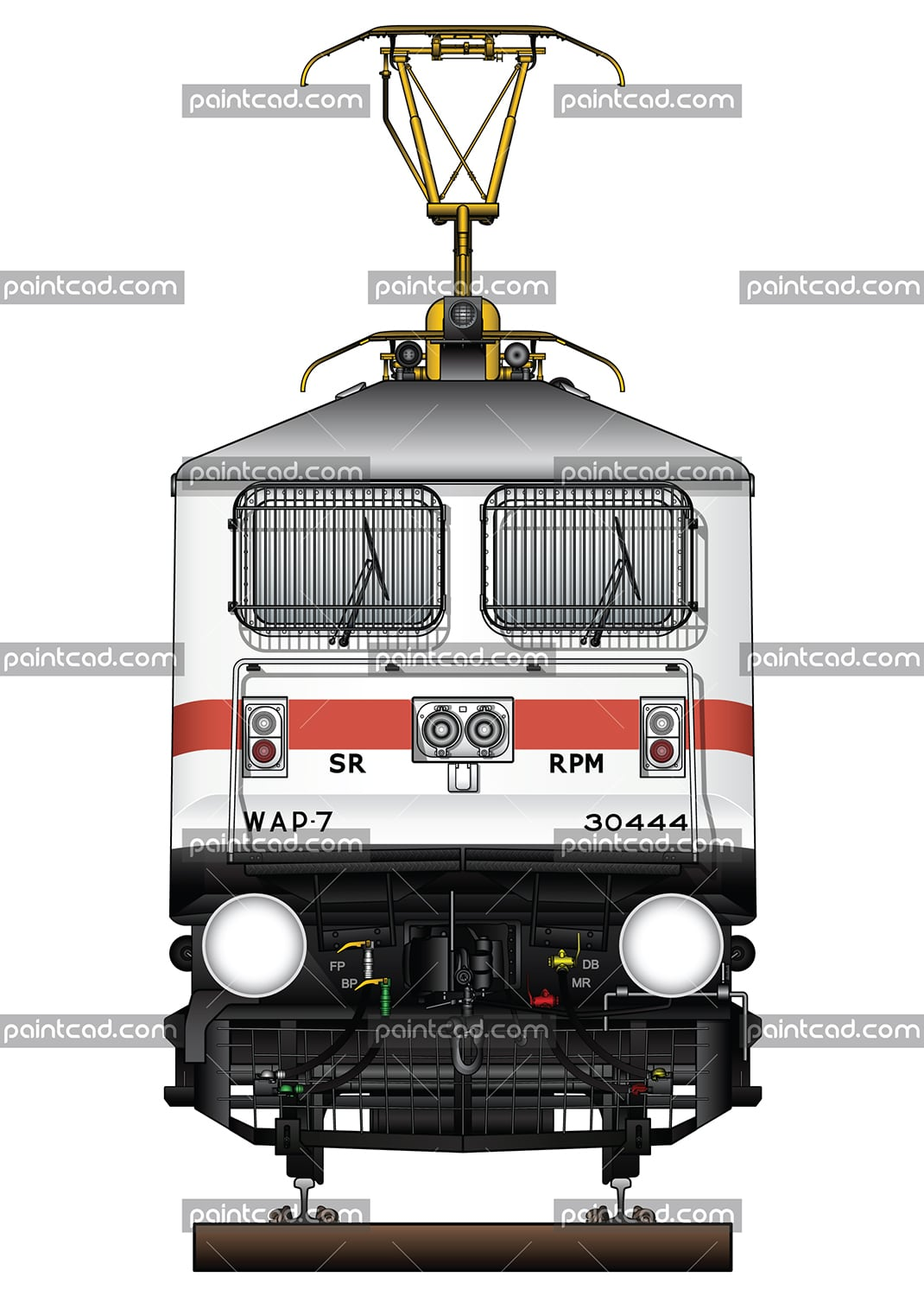 Electric locomotive class WAP-7 owned by Indian Railways - vector illustration