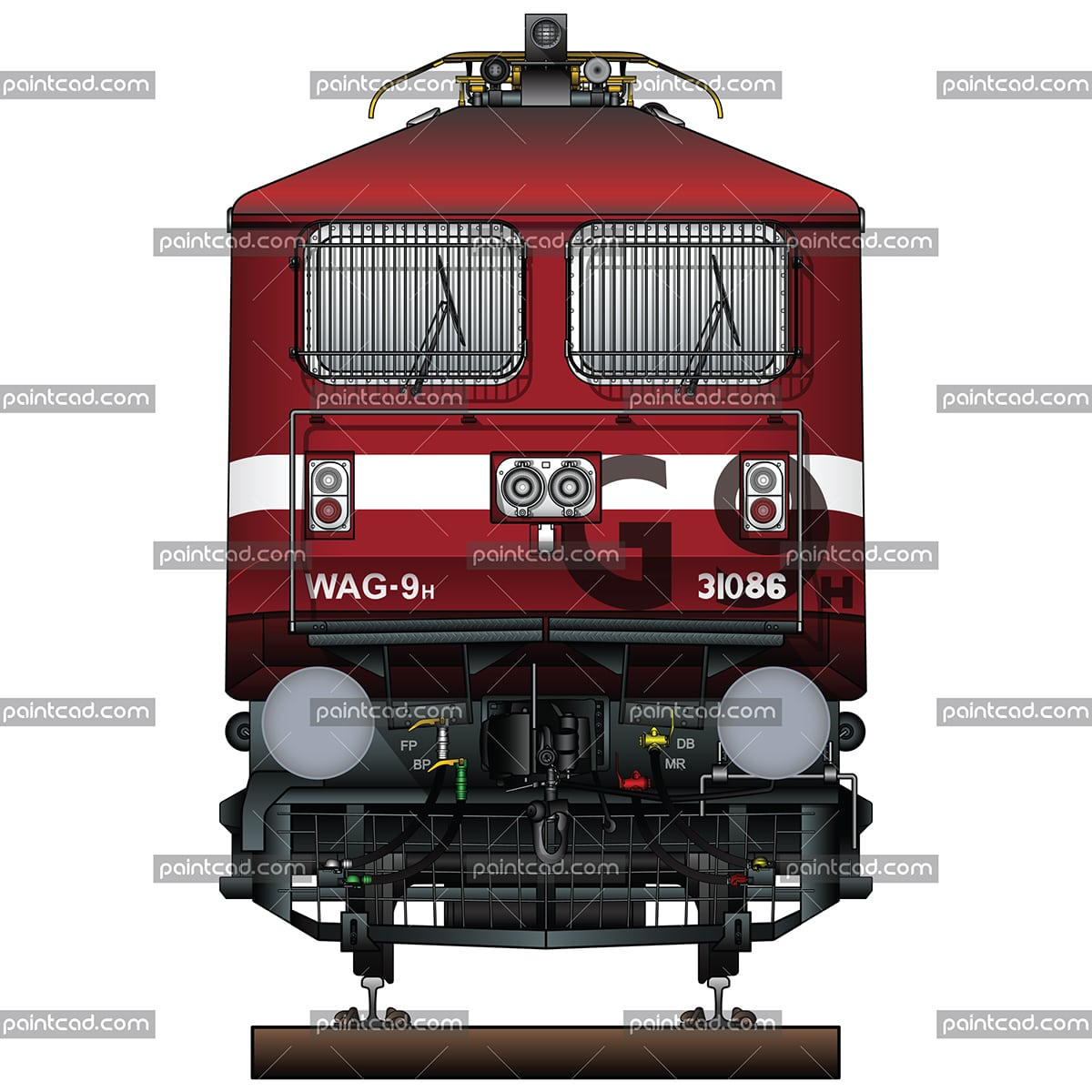 Legendary Indian locomotive WAG-9H with nickname Dr. Silver - vector illustration