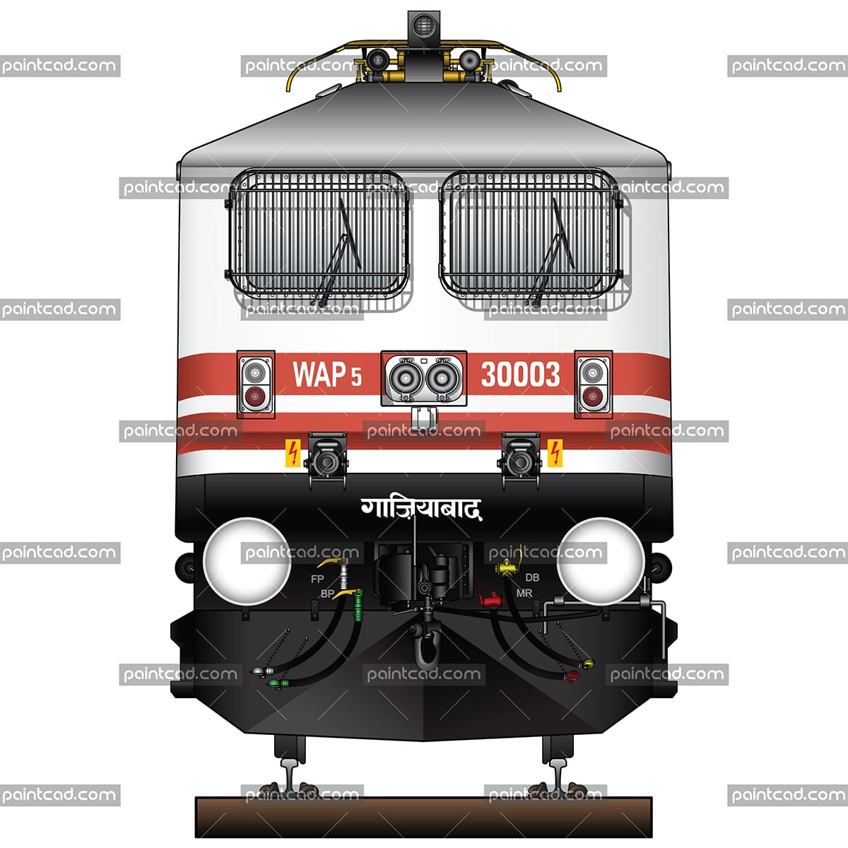 Indian locomotive WAP-5 in white livery and two red stripes - vector illustration