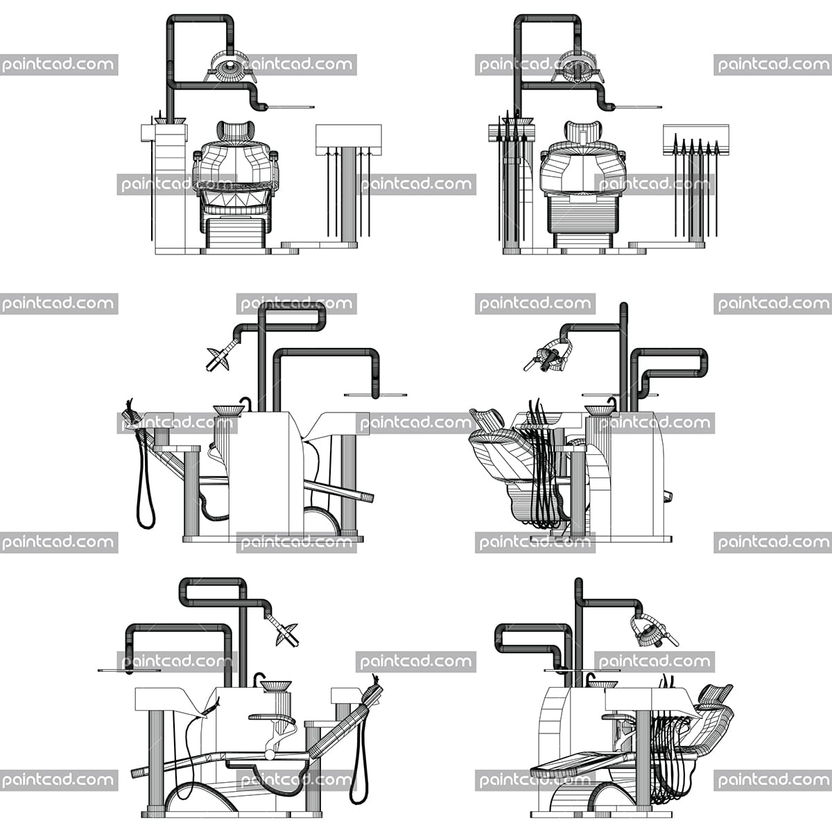 Computer-aided design of wireframe dentist chair - vector illustration