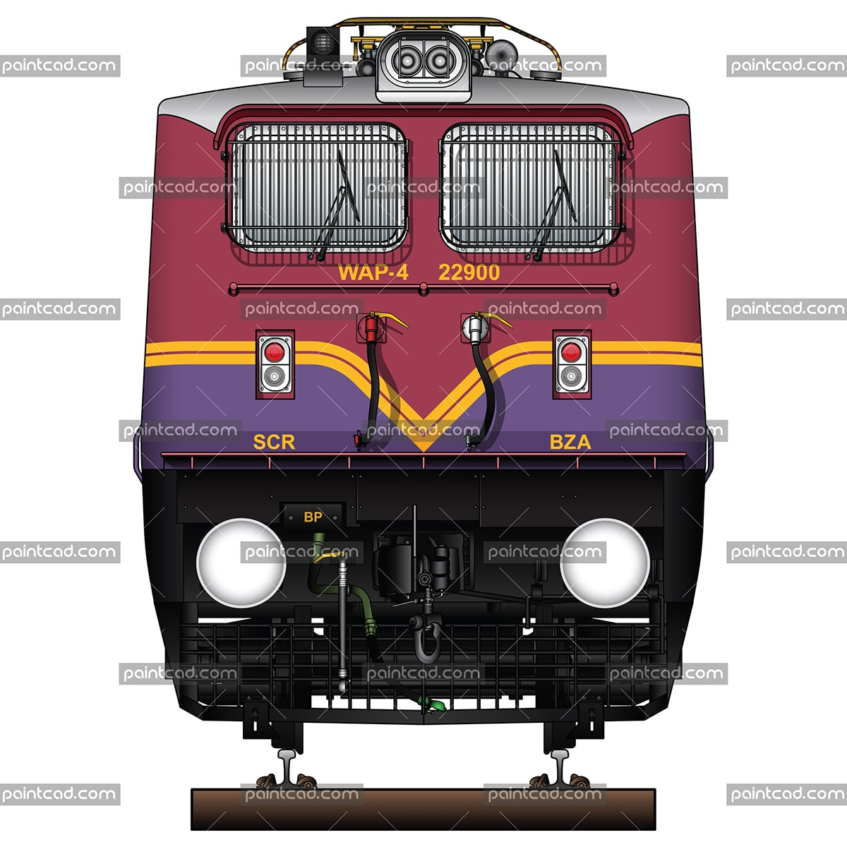 Locomotive class WAP-4 in livery of BZA-Vijayawada loco shed - vector illustration