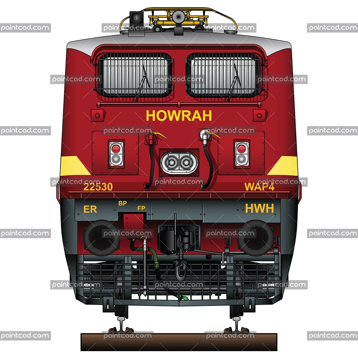 Indian locomotive class WAP-4 in livery of Howrah loco shed - vector illustration
