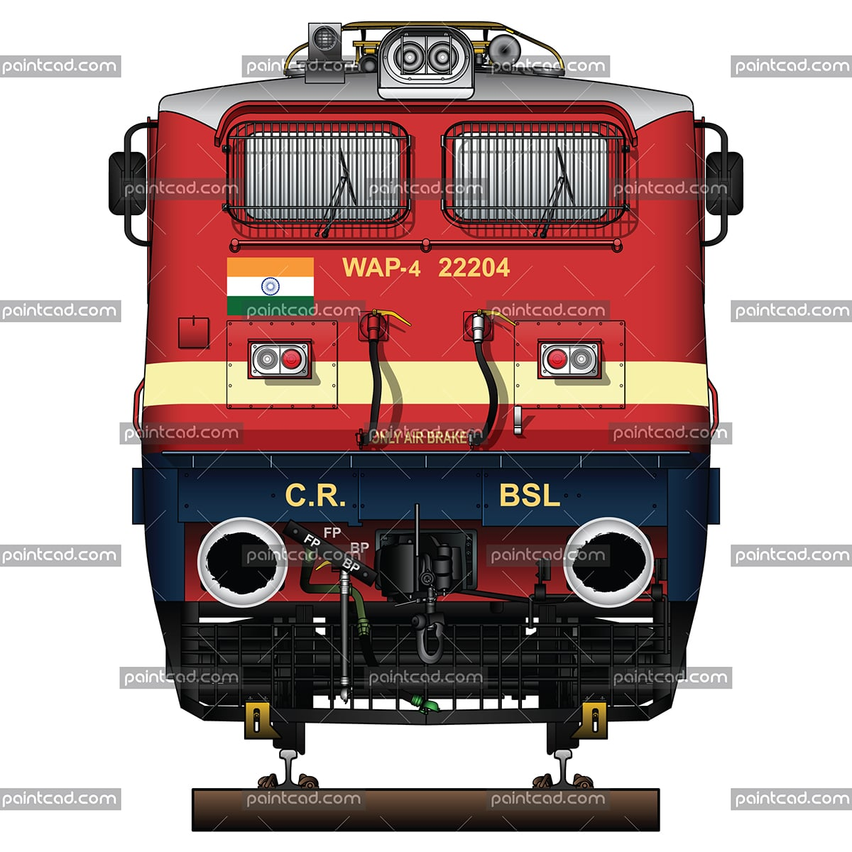 Indian WAP-4 used by Electric Locomotive Shed Bhusawal - BSL - vector illustration