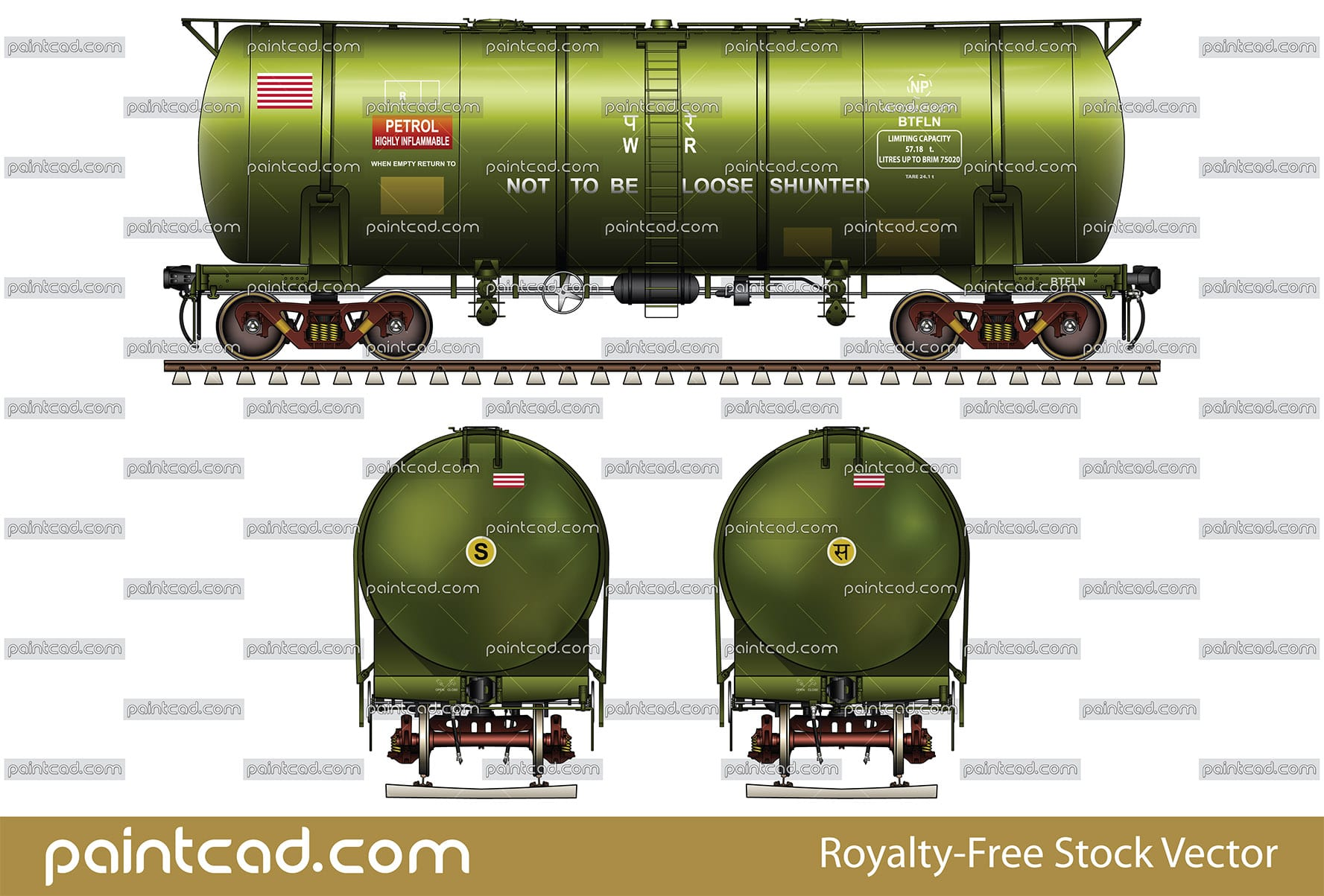 Indian tank car BTFLN type for transport of petrol products - vector illustration