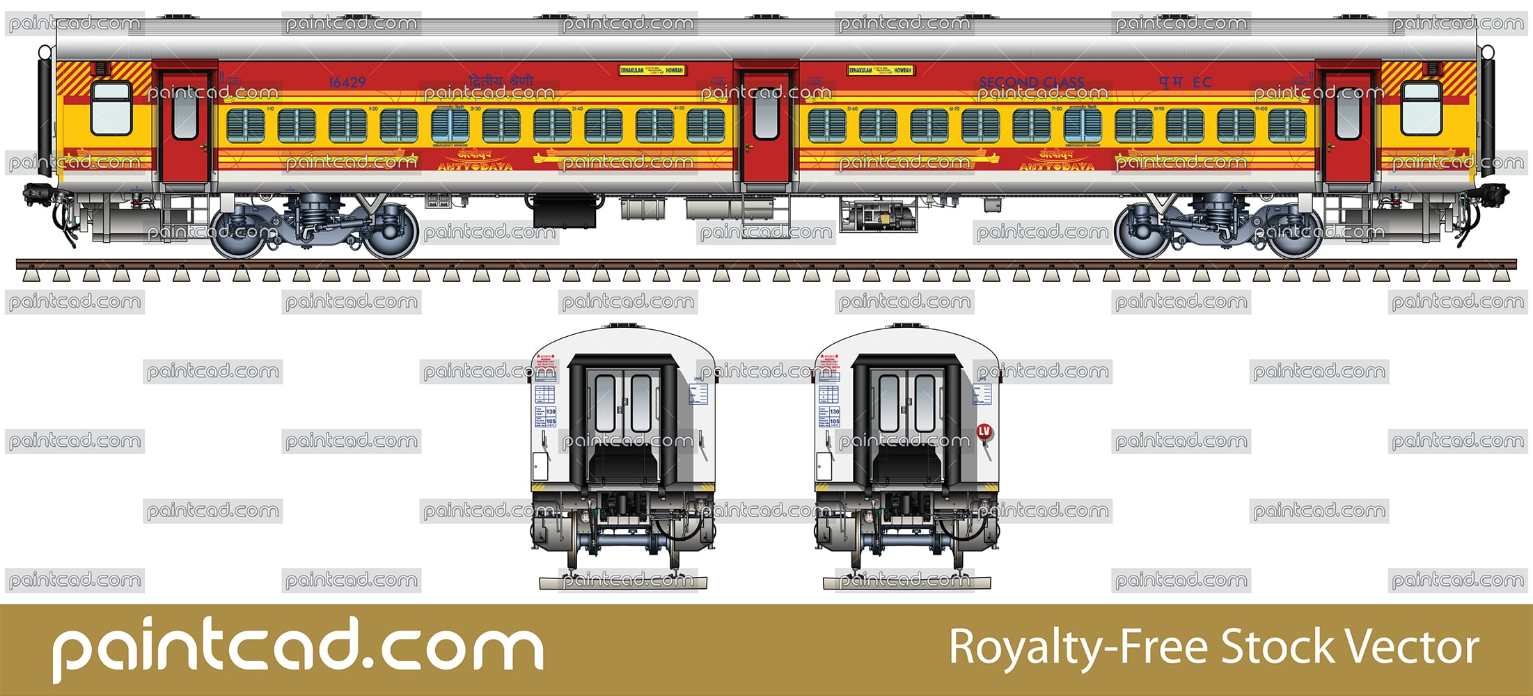 Indian passenger coach LHB type in livery of Antyodaya train - vector illustration