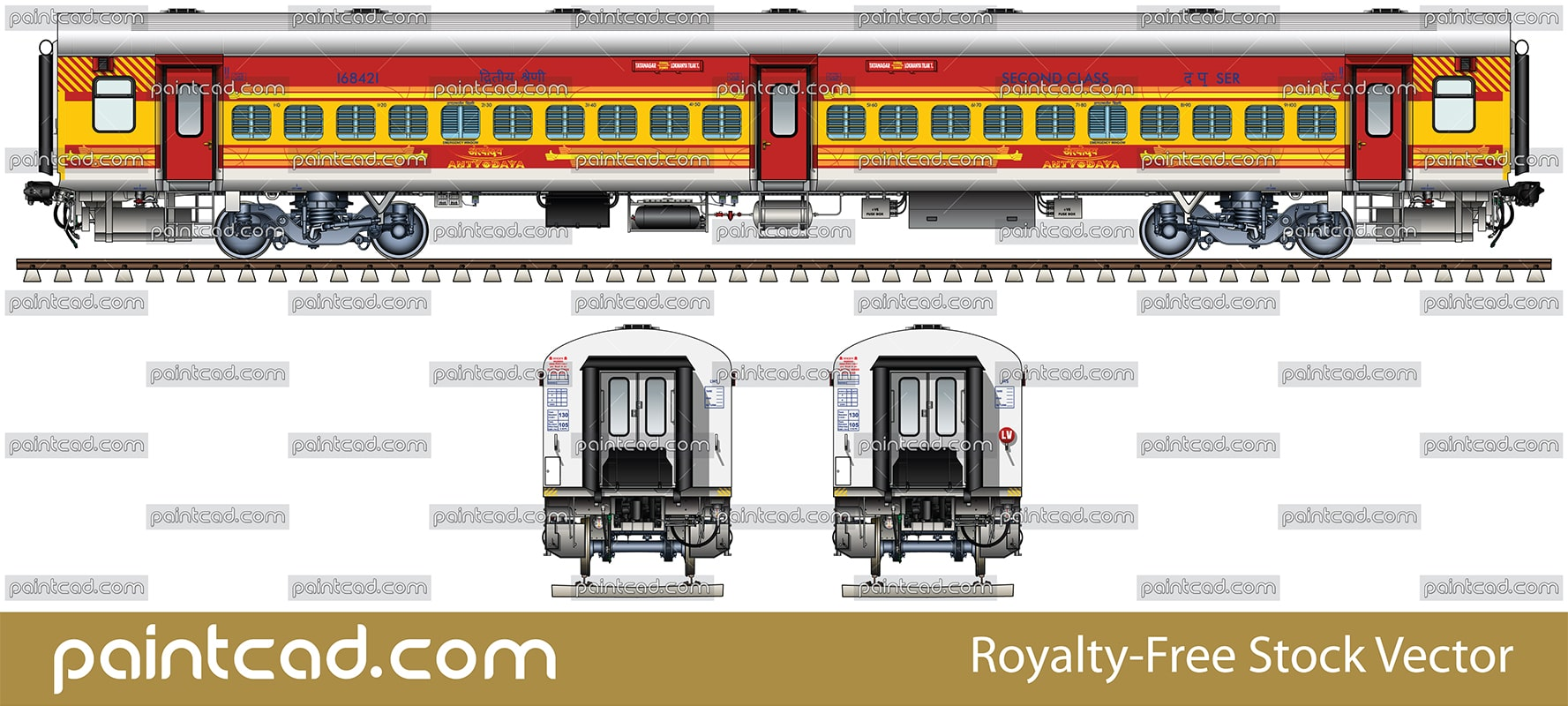 Indian LHB car by Antyodaya express Tatanagar-Lokmanya-Tilak - vector illustration