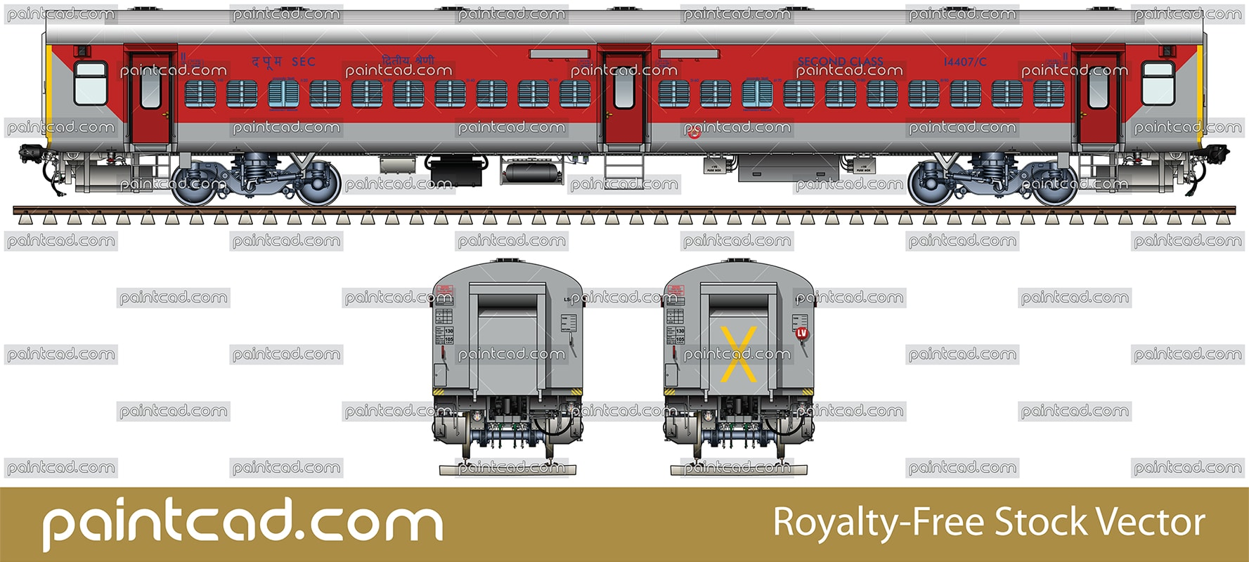 Coach LHB in livery of Bhagat Ki Kothi - Bilaspur Express - vector illustration