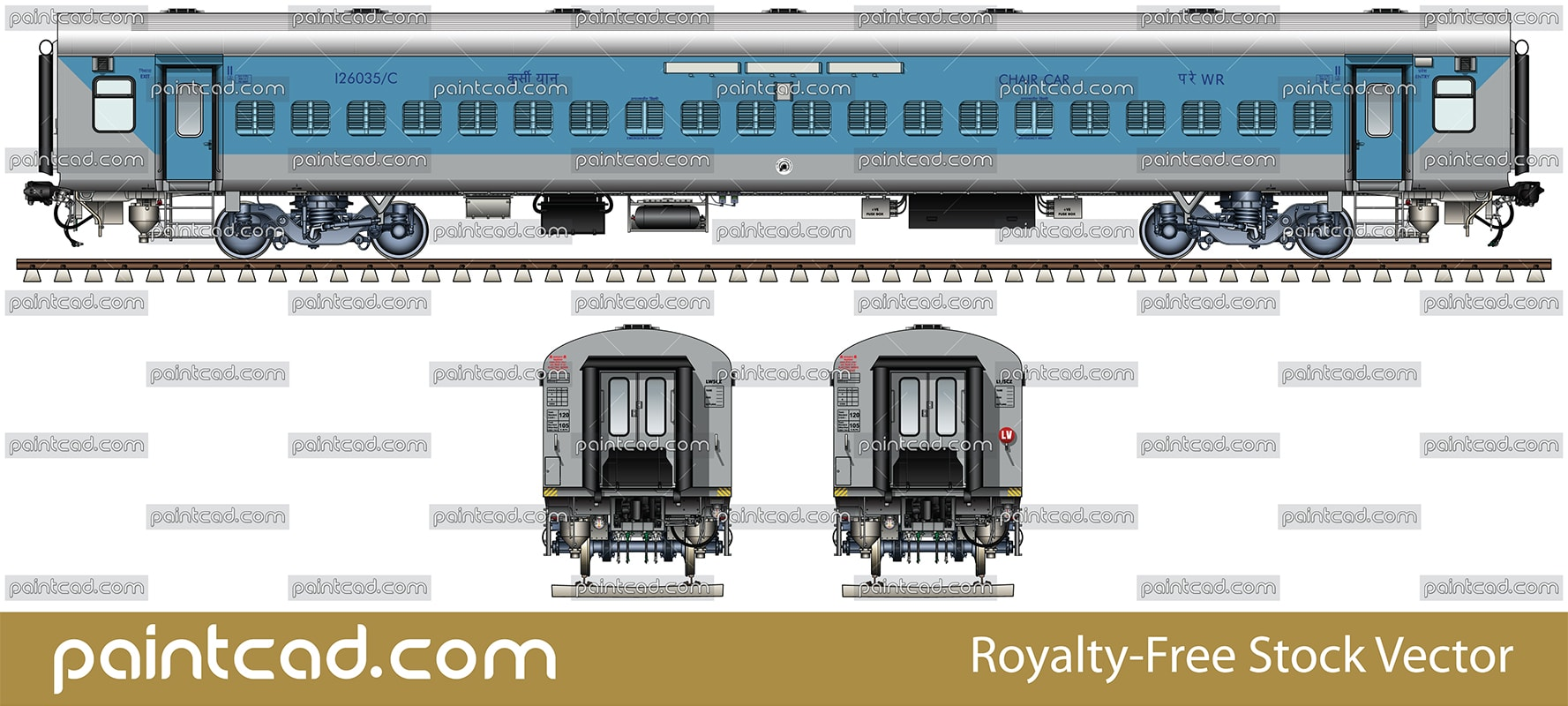 LHB Non AC chair car in livery of Indian Western Railway WR - vector illustration