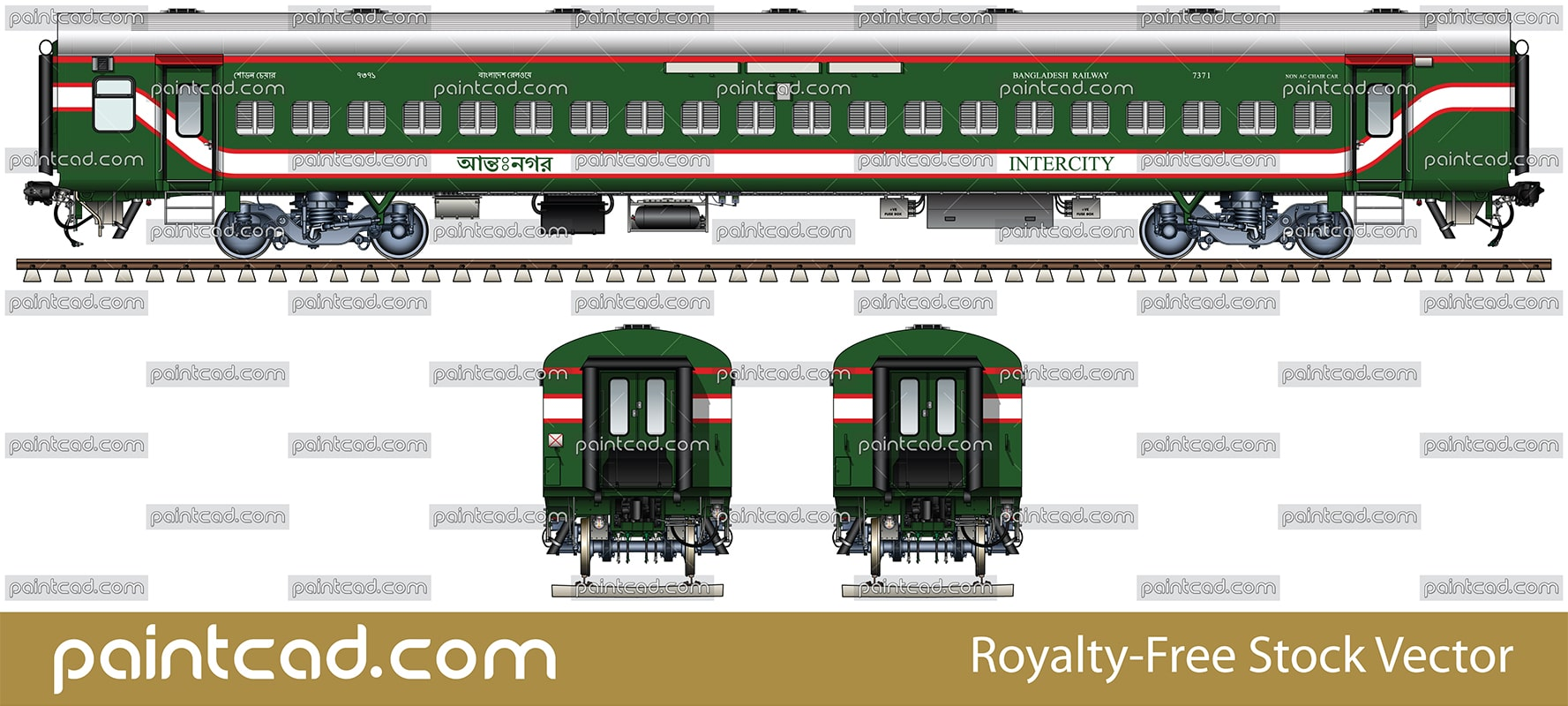 Indian Non AC LHB chair car in livery of Bangladesh Railway - vector illustration