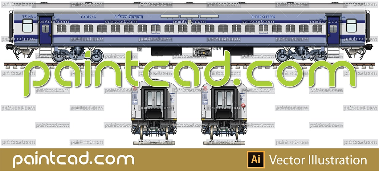 Second class sleeper in livery of Anand Vihar-Udhampur train - vector illustration