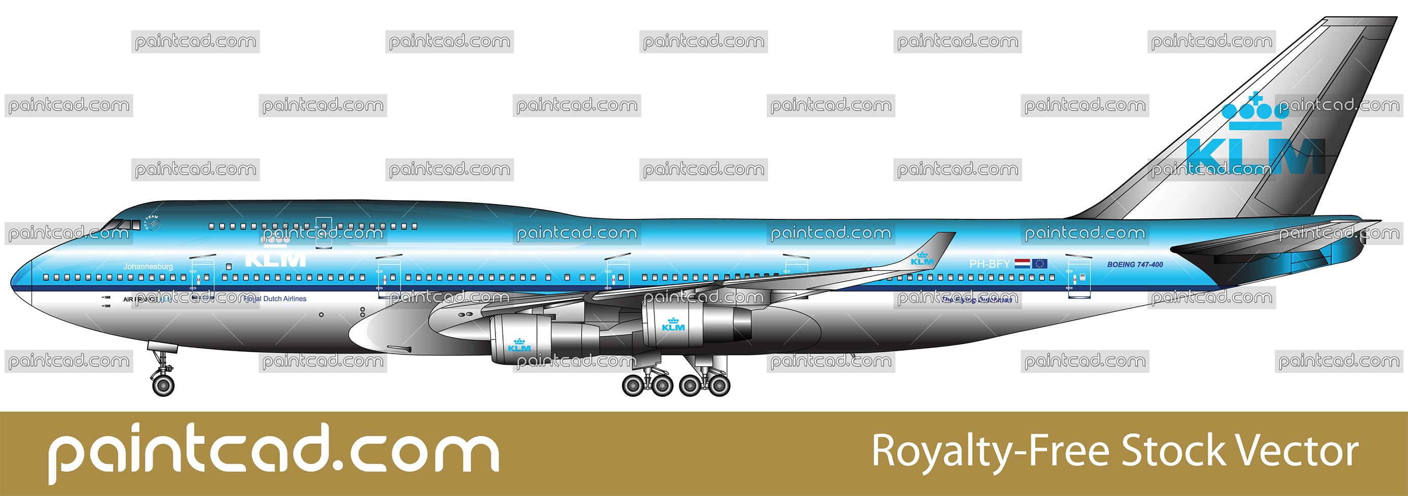 Boeing 747 airplane with landing gears and livery of KLM - vector illustration