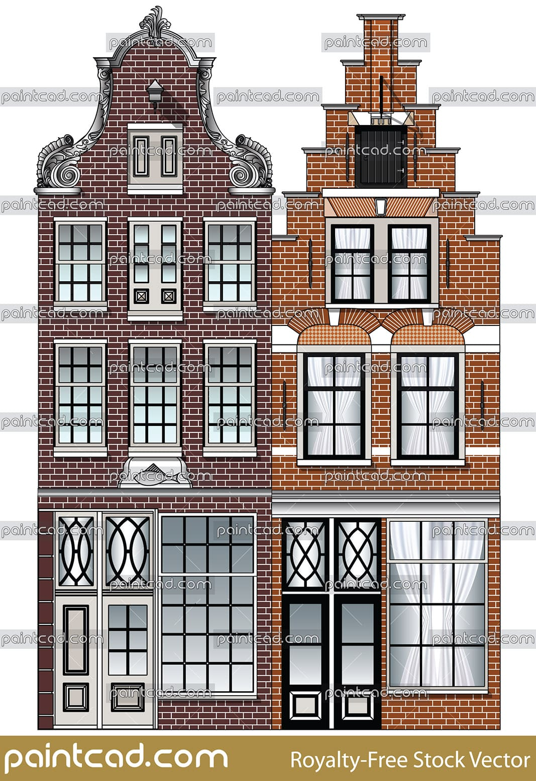 Facades of old canal houses from Amsterdam city, Netherlands - vector illustration