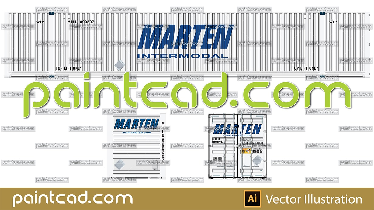 Intermodal high cube container 53' in white livery of Marten - vector illustration
