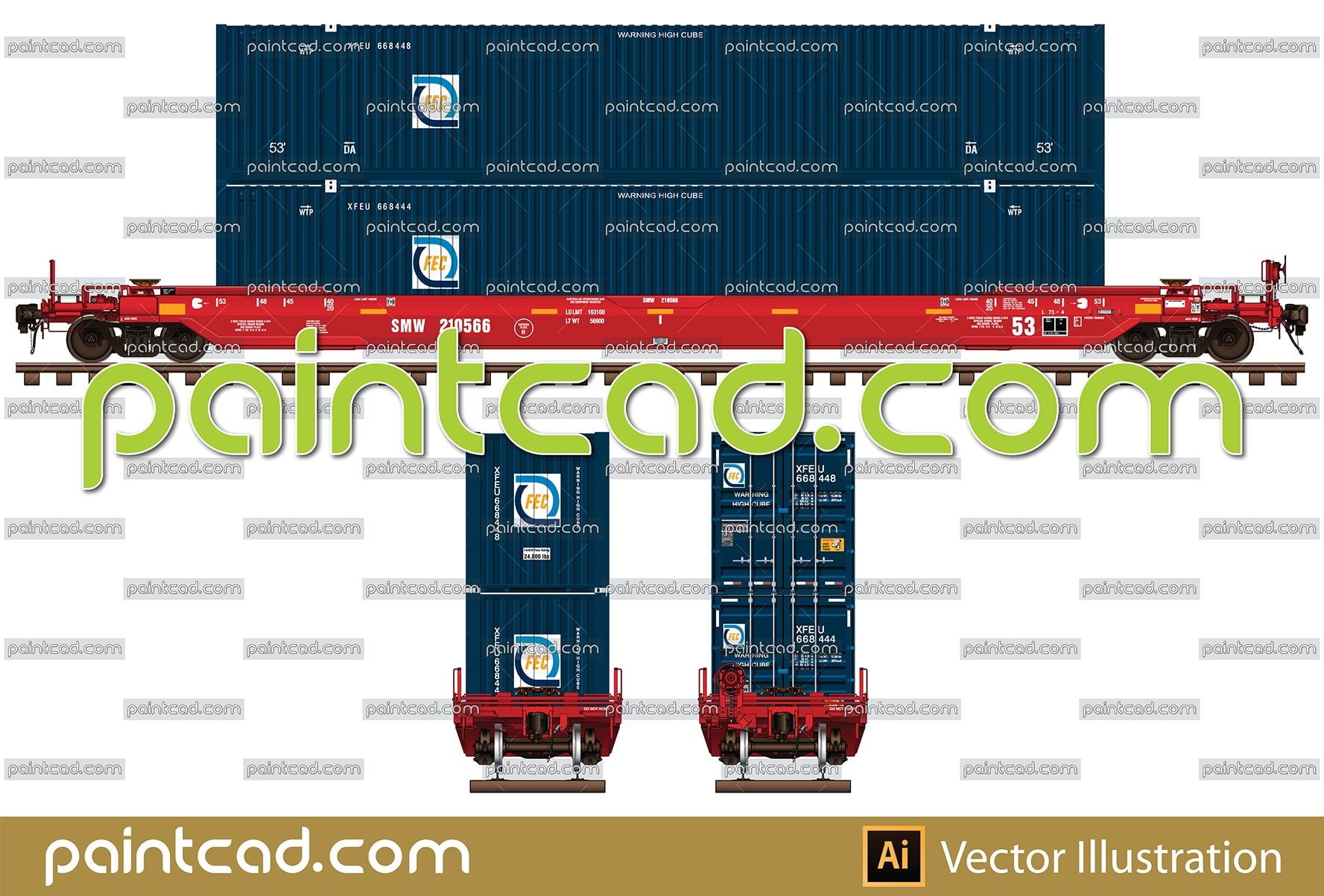 Train set with locomotive LDH 125 and two covered wagons - vector illustration