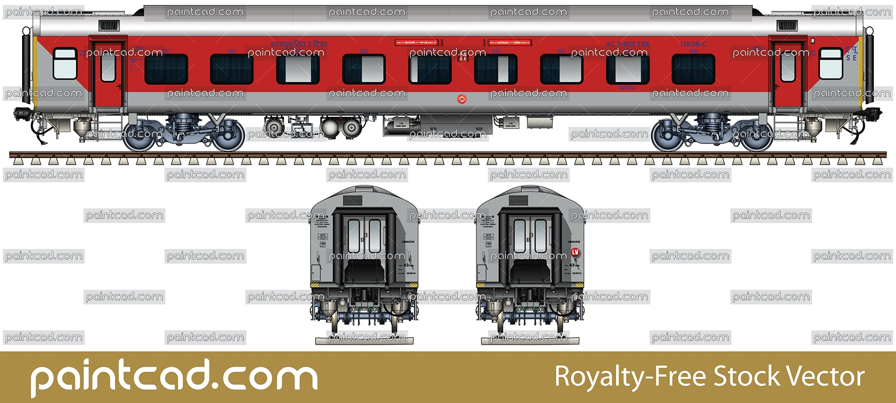 AC THREE TIER LHB car used by Santragachi-Chennai AC express - vector illustration