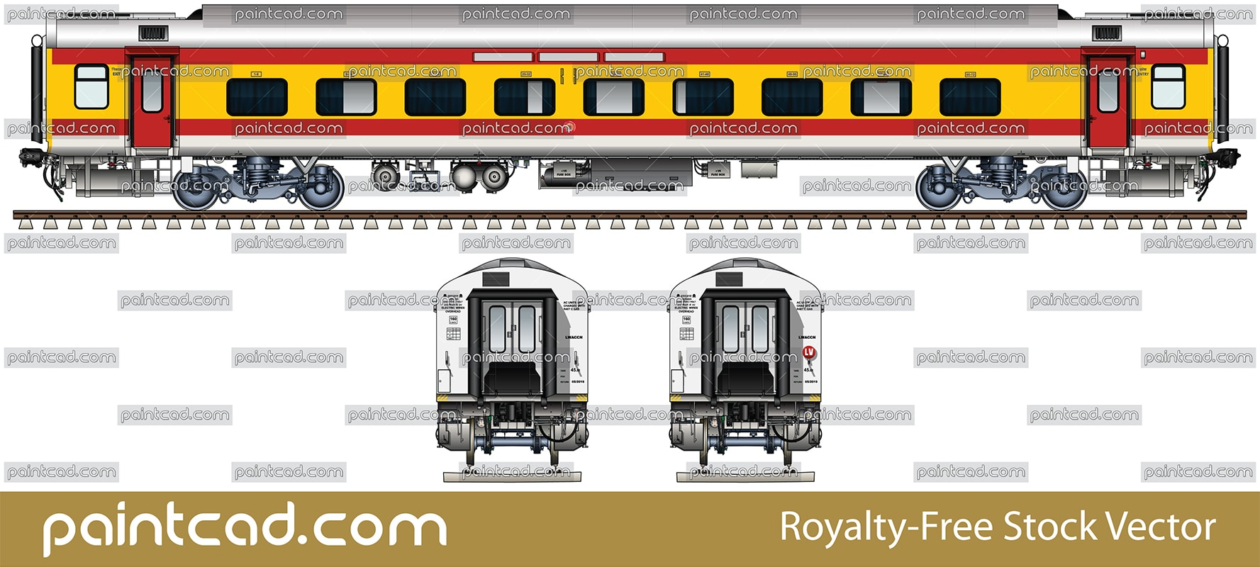 Indian LHB AC three tier car in colors of Antyodaya Express - vector illustration