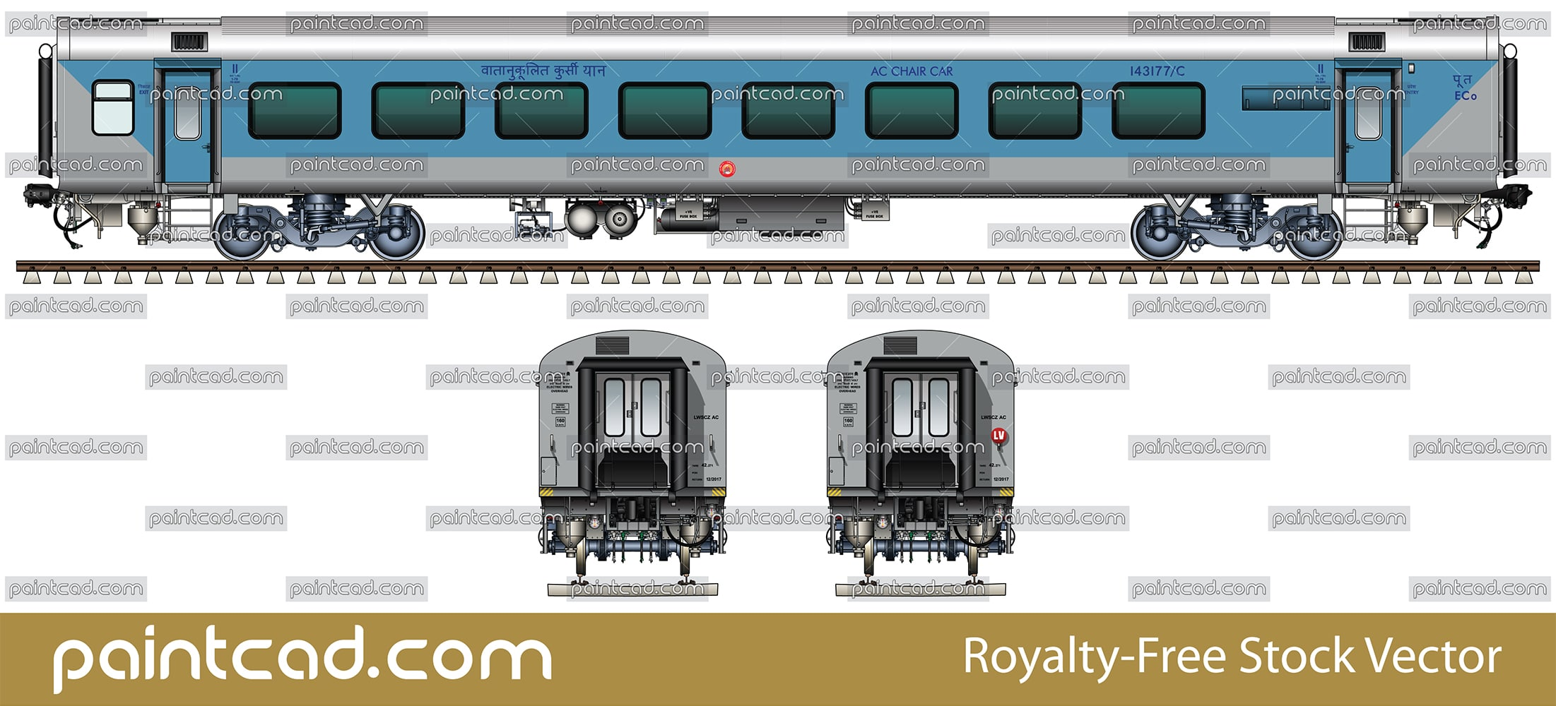 LHB FIRST AC CHAIR CAR by Indian East Coast Railway zone - vector illustration