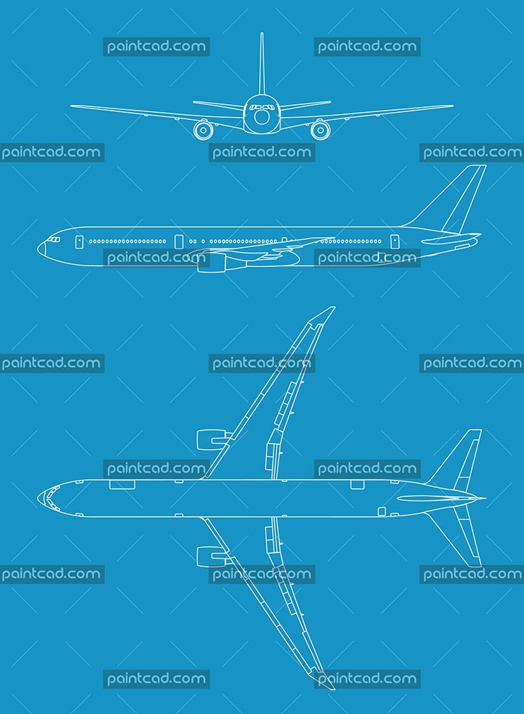 Vector drawing of Airplane in three orthogonal projections - vector illustration