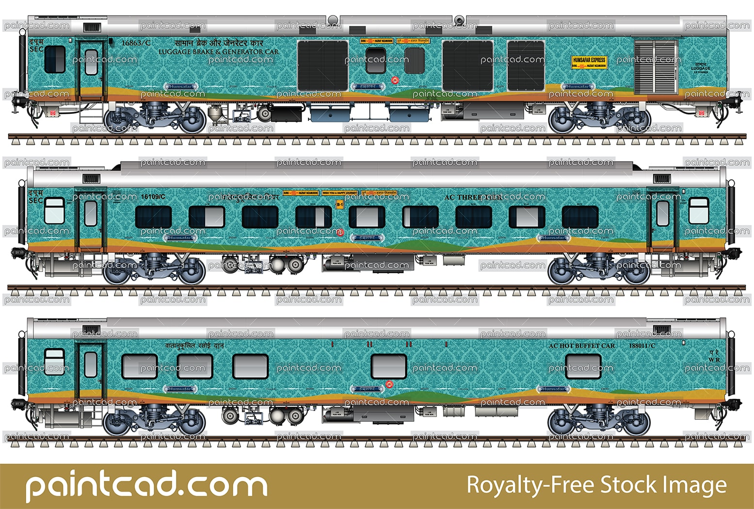 Modern Indian LHB coaches in livery of Humsafar express - vector illustration