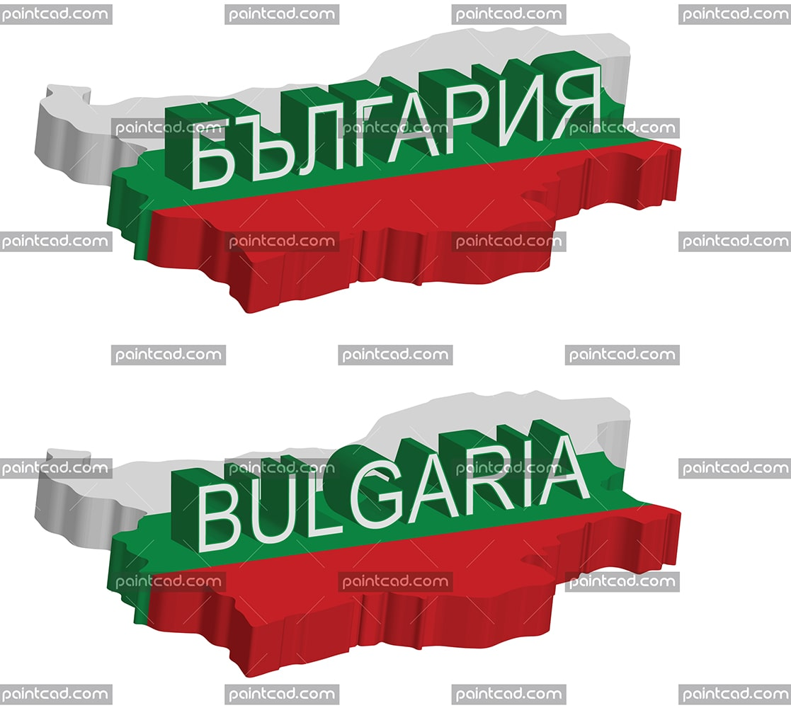 Isometric map of Bulgaria with three dimensional text - vector illustration