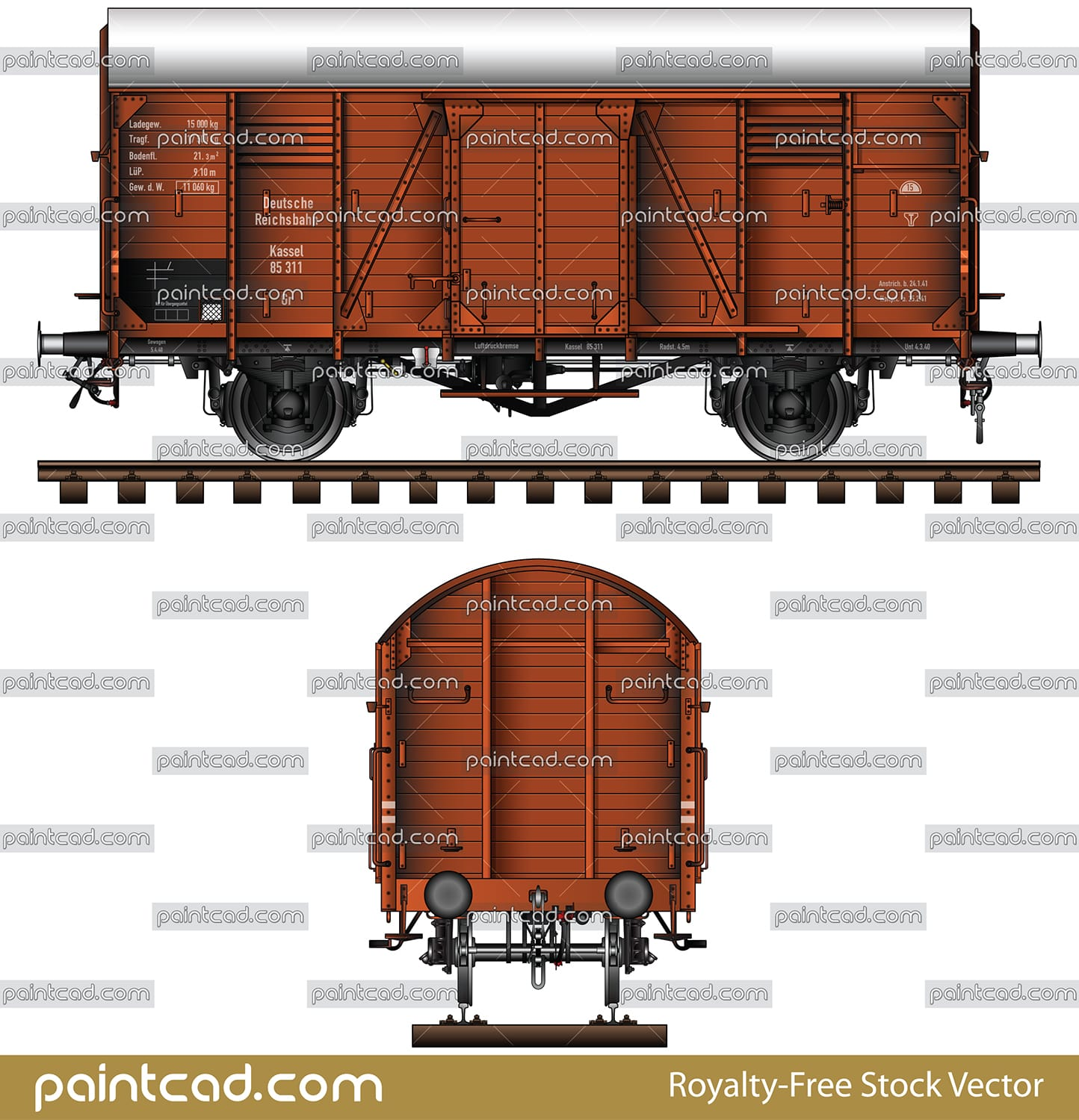 German covered freight wagon type Gr without hand brakes - vector illustration