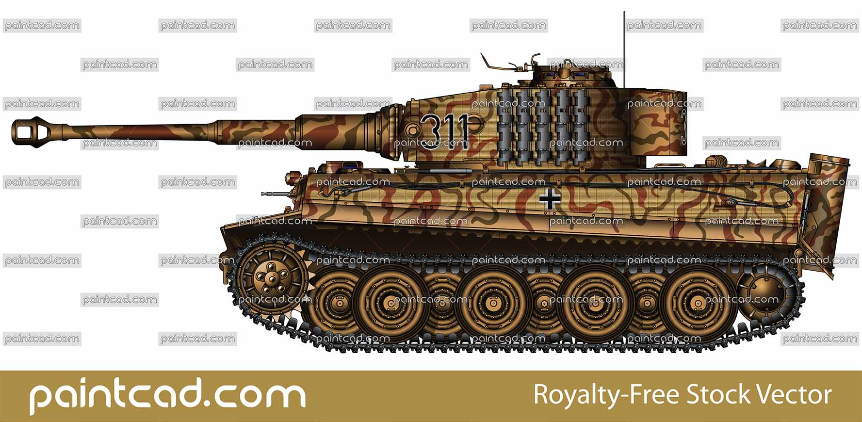 German heavy tank Panzer VI Tiger I Ausf E from World War II - vector illustration