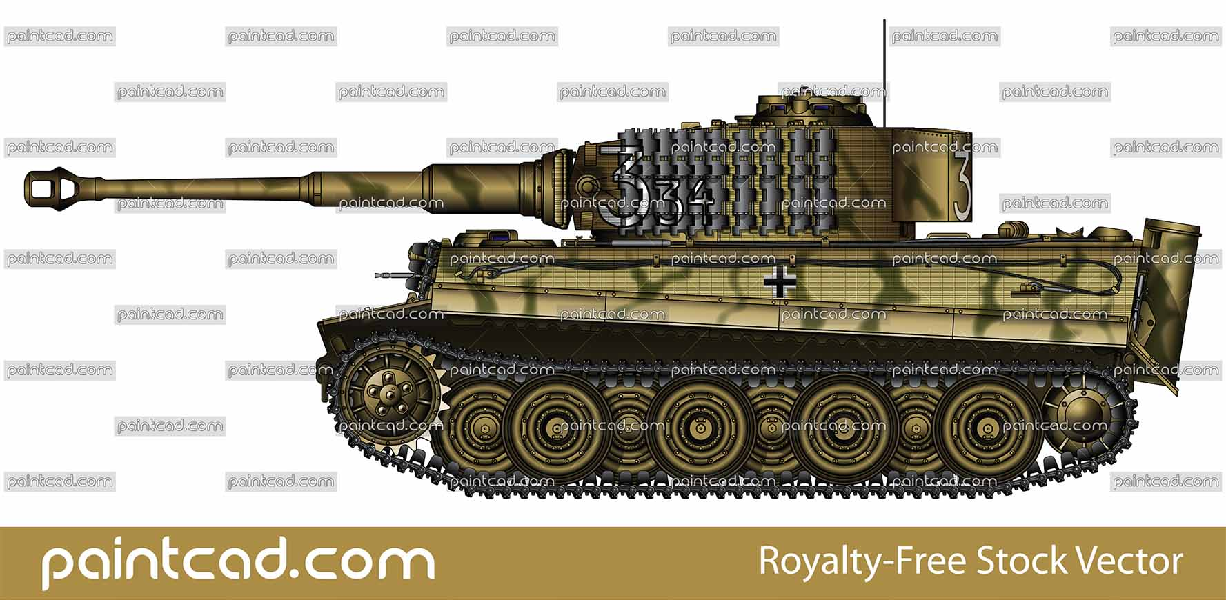 Late variant Tiger I Ausf E of commander Klaus-Peter Muller - vector illustration