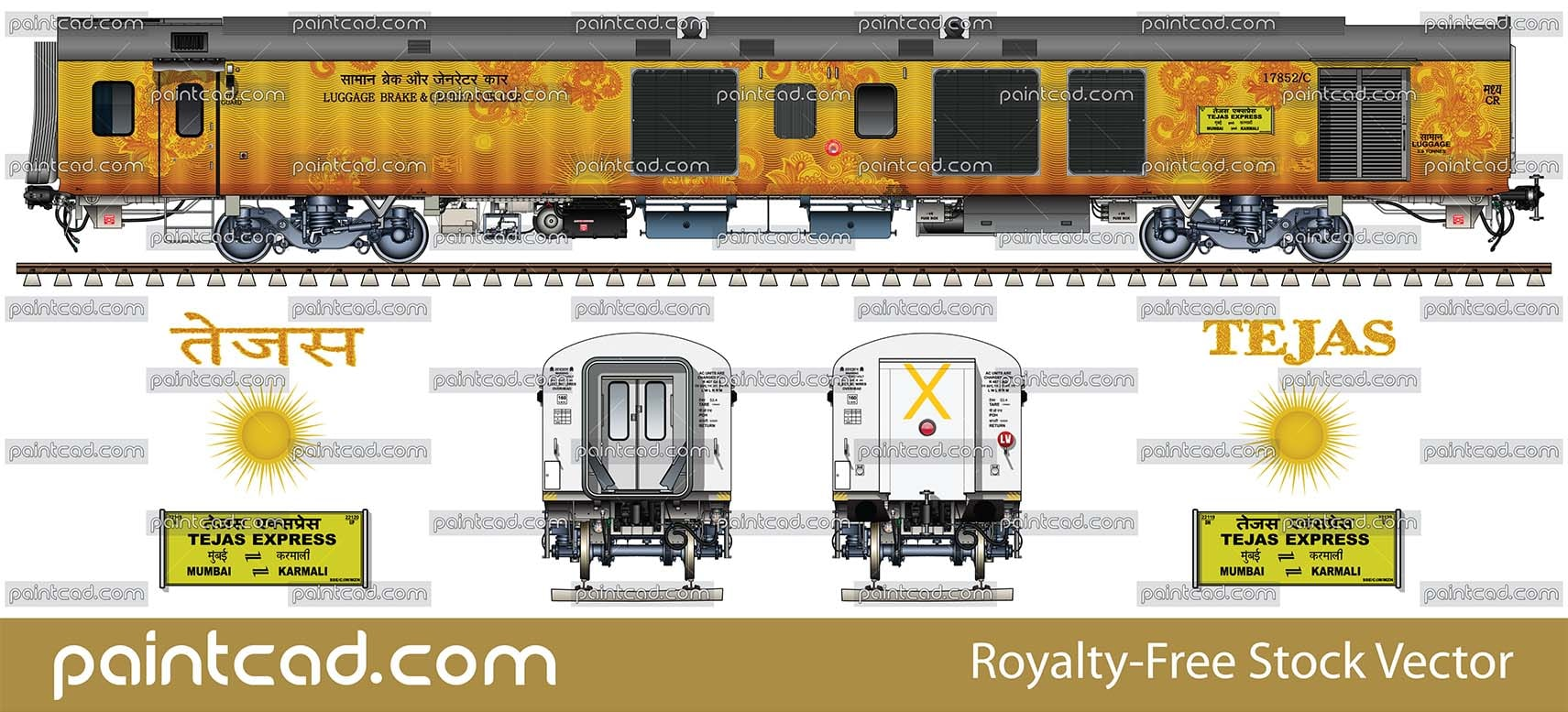 Passenger chair cars in blue-gray livery by Indian Railways - vector illustration