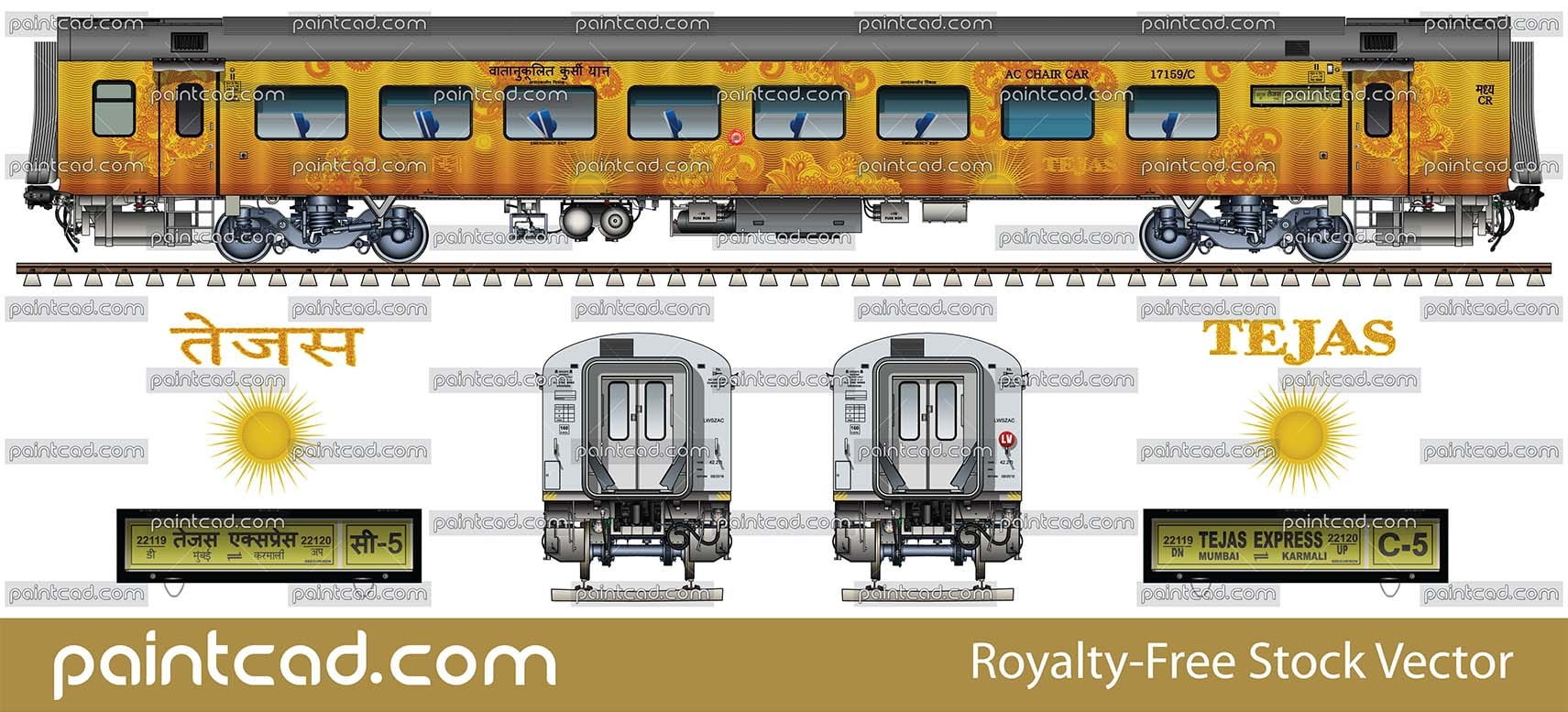 LHB coaches in livery of Anand Vihar-Udhampur special train - vector illustration