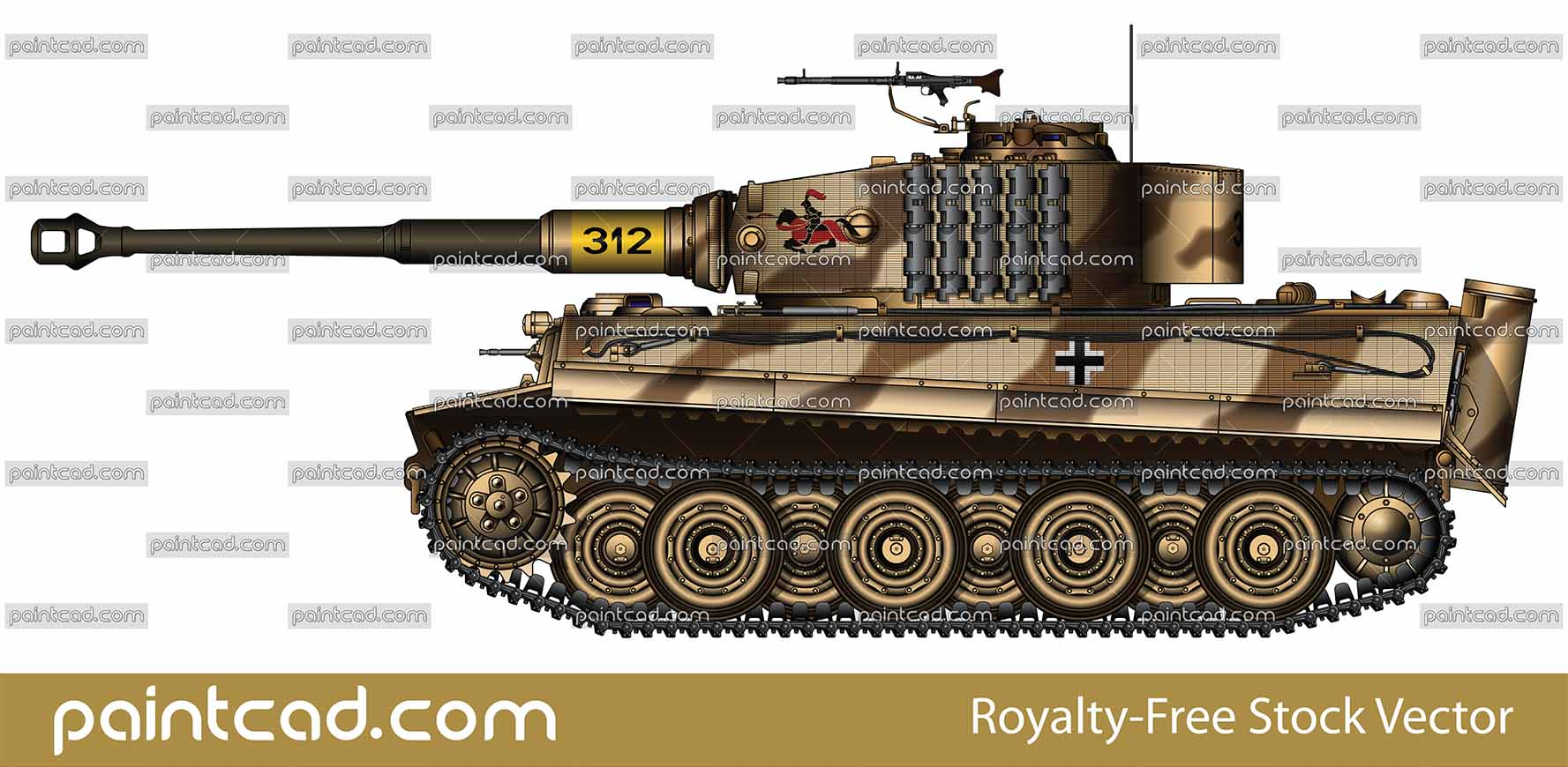 Tank Tiger I of the 3rd Kompanie, s.Pz.Abt.505, Russia 1944 - vector illustration