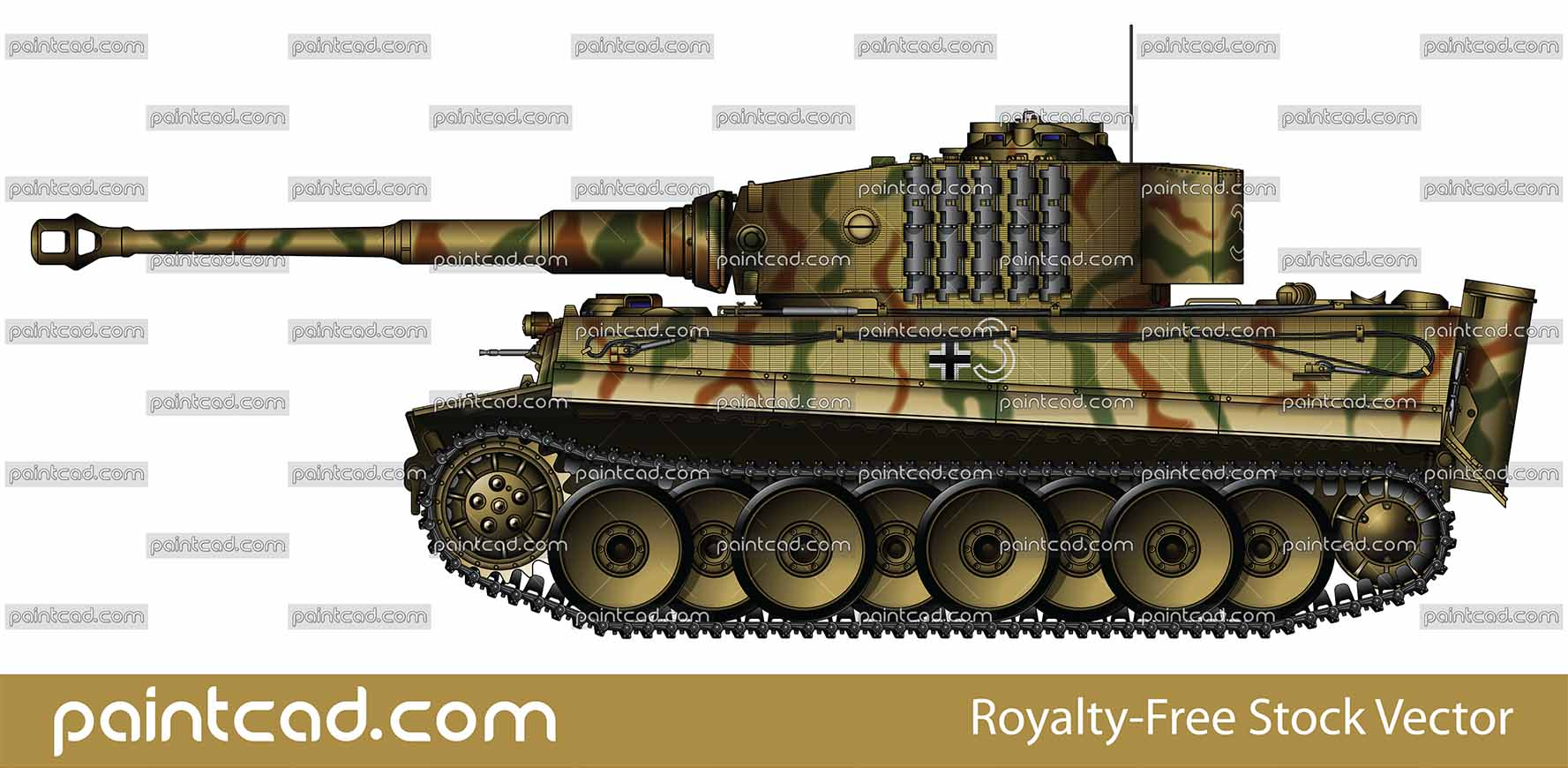 Heavy tank Tiger I with tactical number 3 from World War II - vector illustration