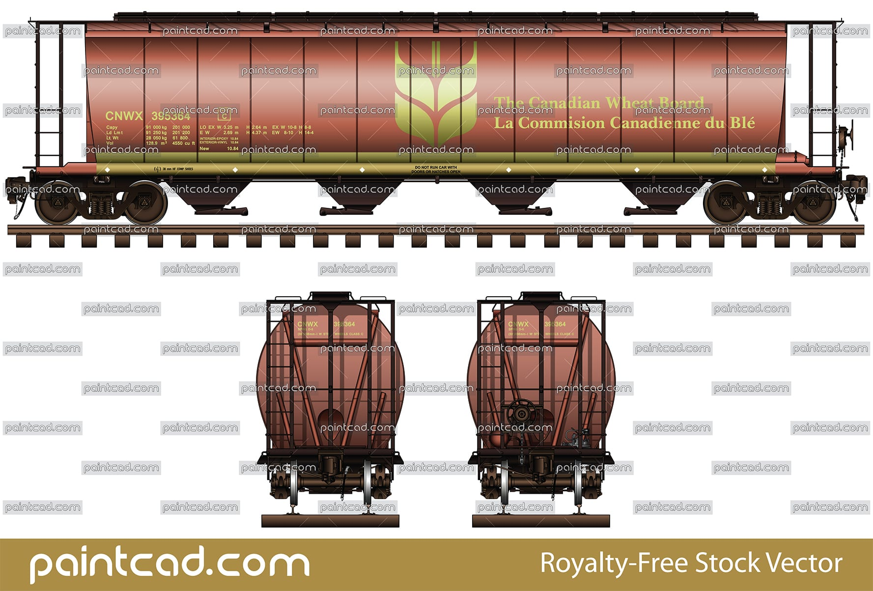 Cylindrical hopper car in livery of the Canadian Wheat Board - vector illustration