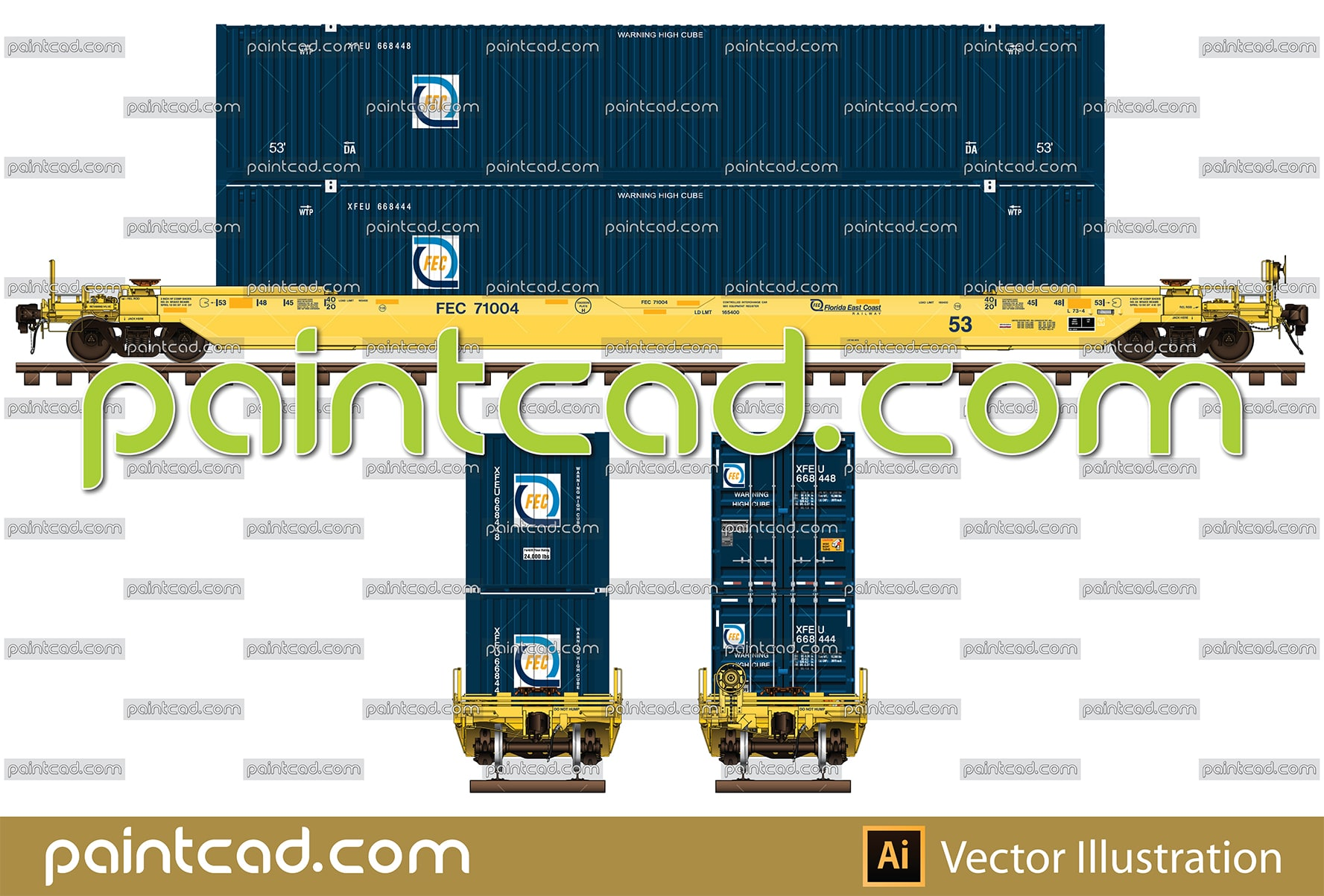 All-purpose 53 ft double-stack well car owned by FEC Railway - vector illustration