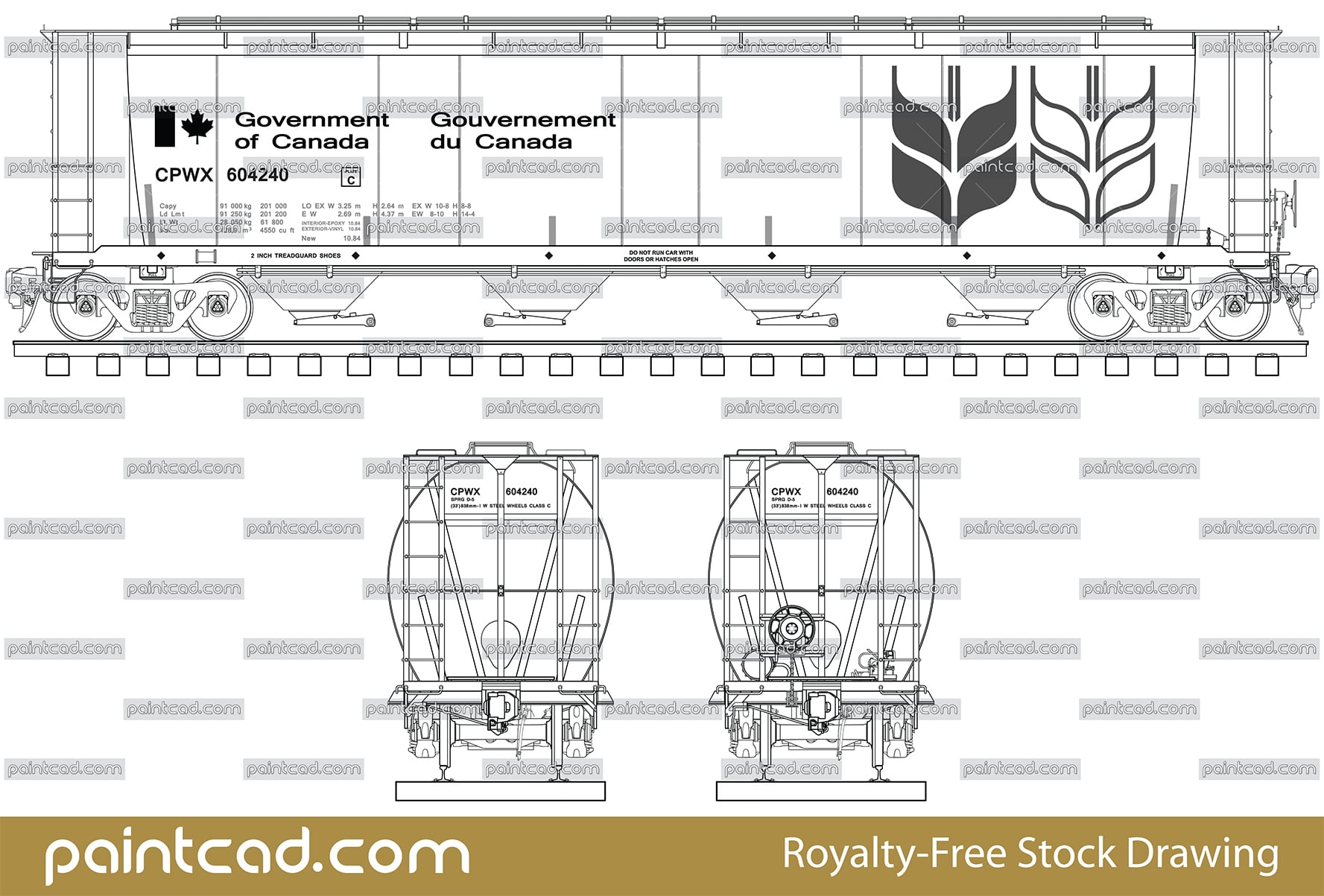 Diagram of covered hopper car by the Gouvernement du Canada - vector illustration