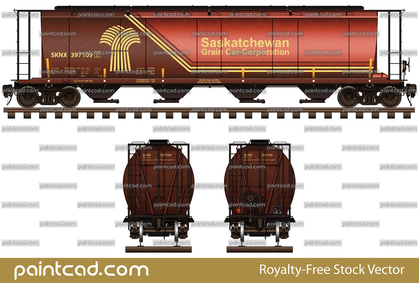 Canadian covered hopper by Saskatchewan Grain Car Corporation - vector illustration