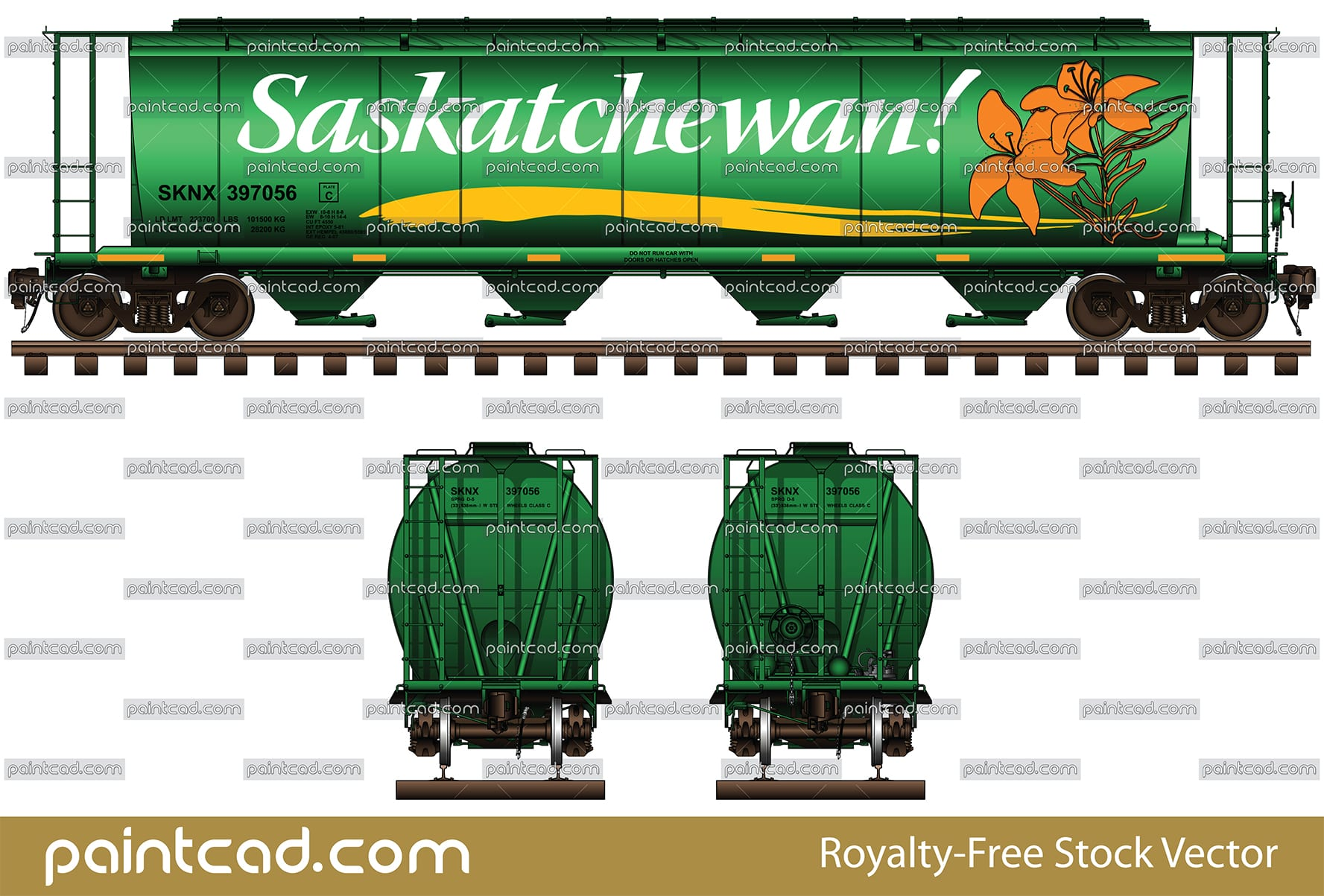 Canadian covered hopper car by Government of Saskatchewan - vector illustration