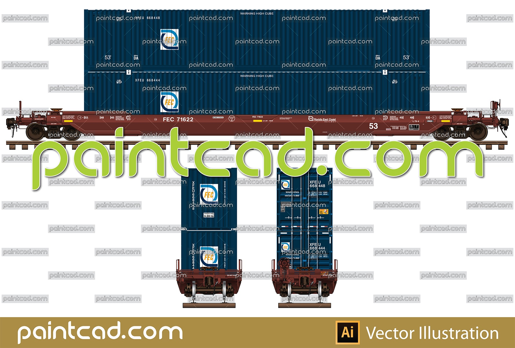 53 Foot double-stack car and containers of FEC Railway - vector illustration