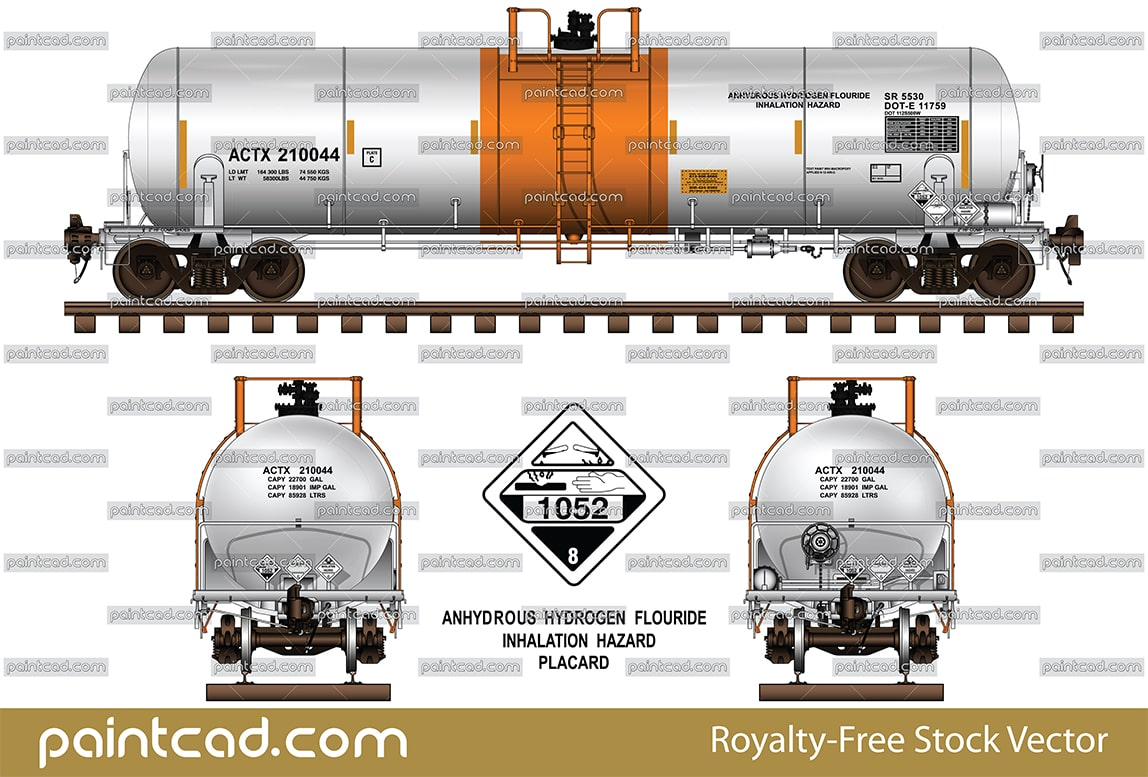 Diagram of American tank car DOT-111 with head shields - vector illustration
