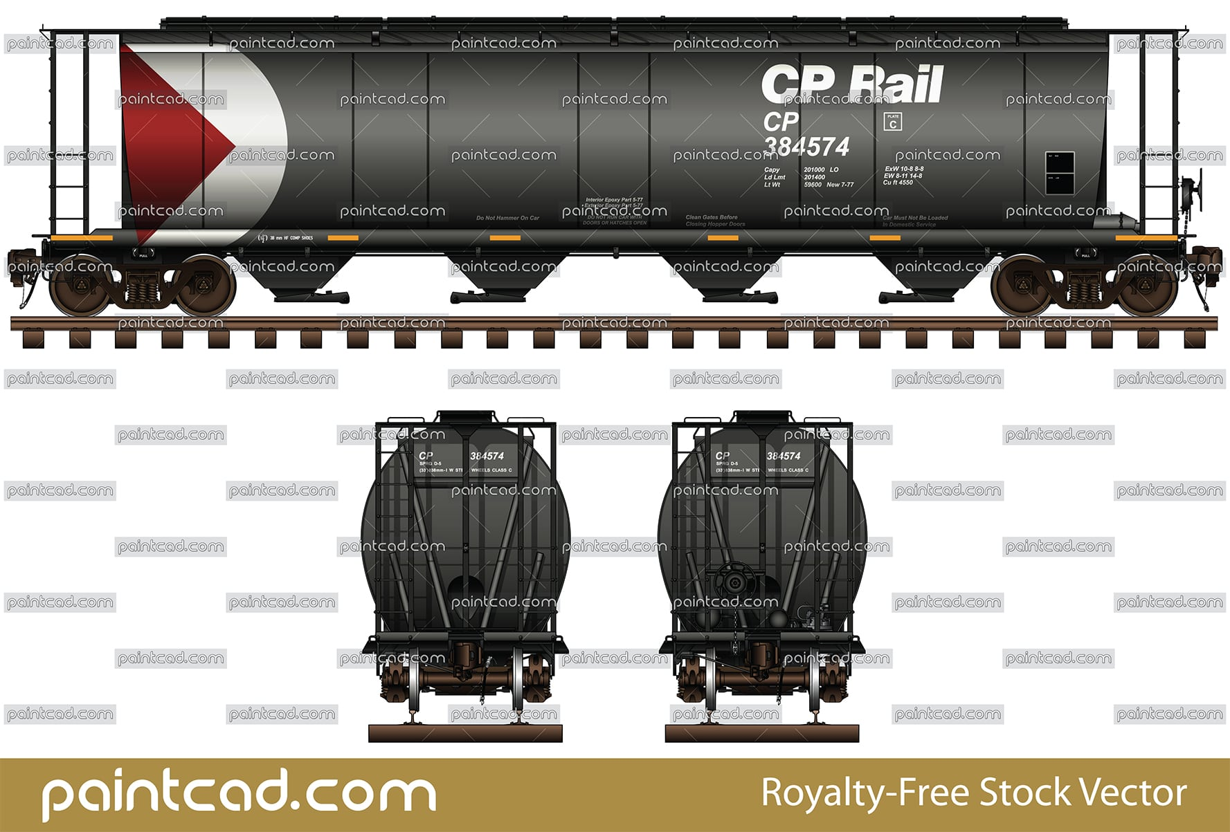 Railroad 4-bay covered hopper car in livery of CP Rail - vector illustration
