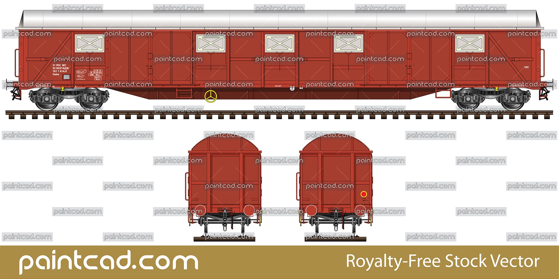 Covered freight wagon with sliding doors and vents - vector illustration