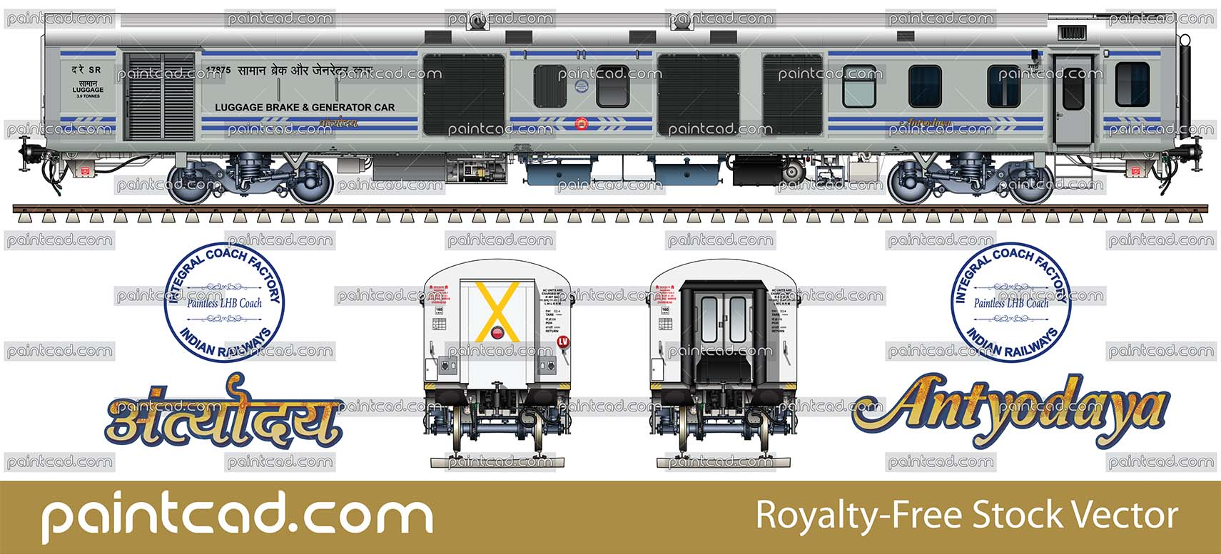Indian LHB Air-Conditioned three tier coach in factory paint - vector illustration