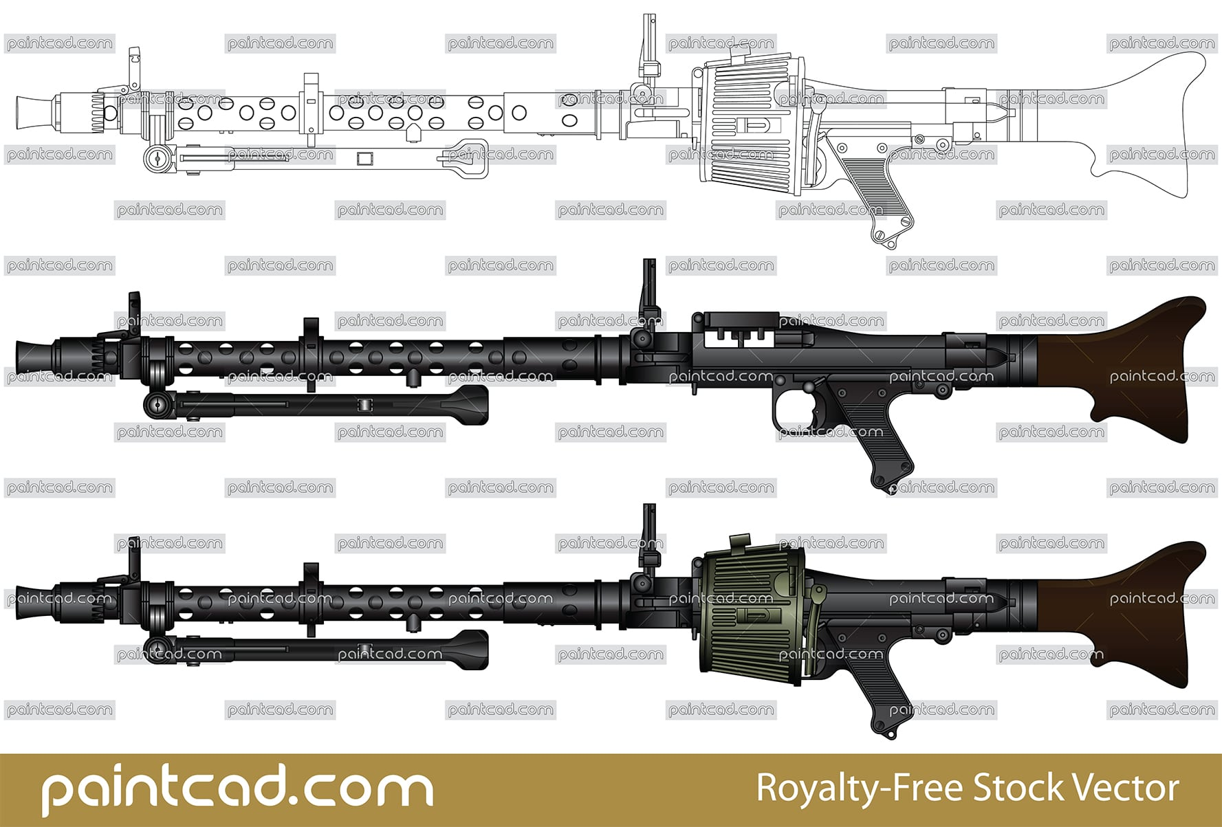 German machine gun Maschinengewehr MG 34 from World War II - vector illustration