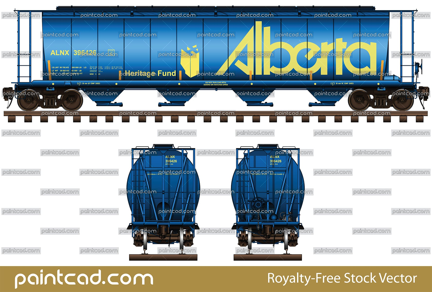 Canadian hopper car in livery by the Government of Alberta - vector illustration