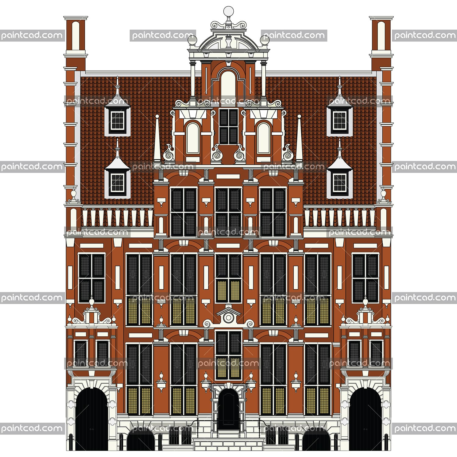 Color drawing of large canal house from Amsterdam city - vector illustration