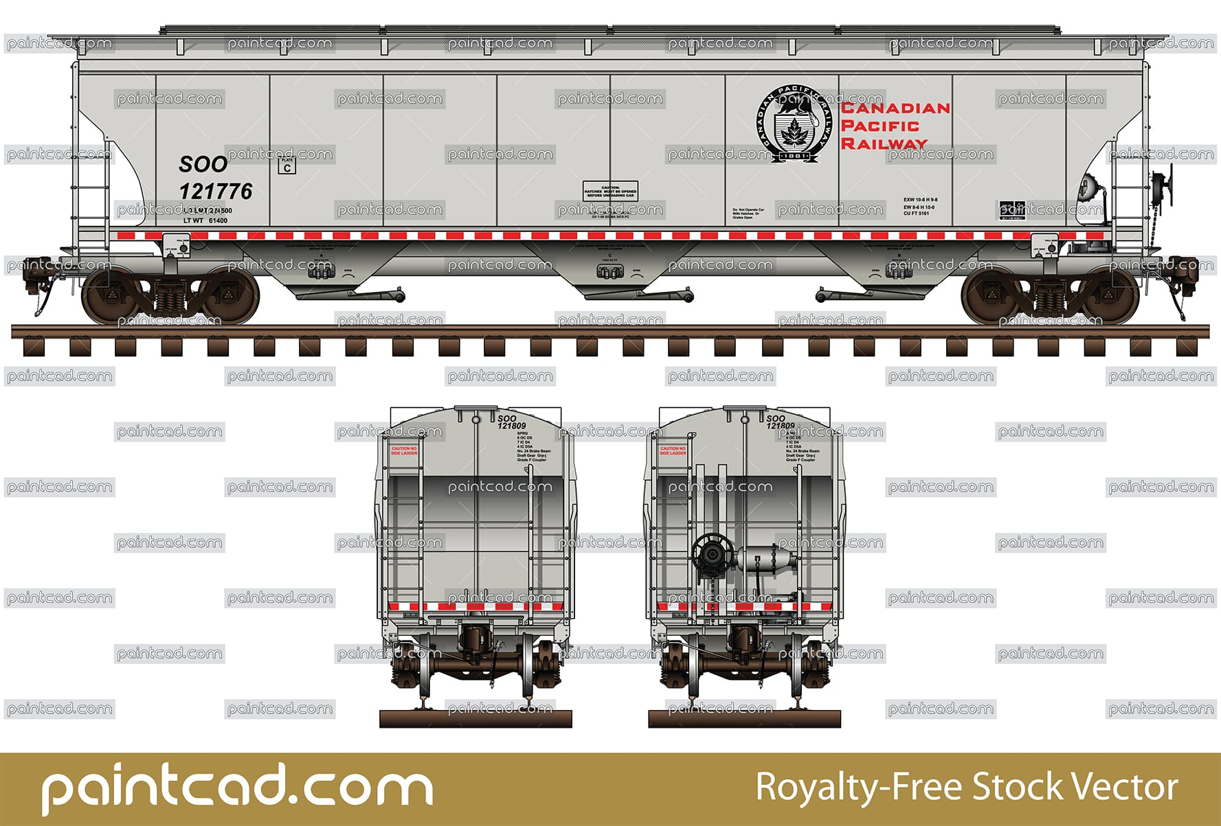 Covered 3-bay hopper car by Canadian Pacific Railway - CPR - vector illustration